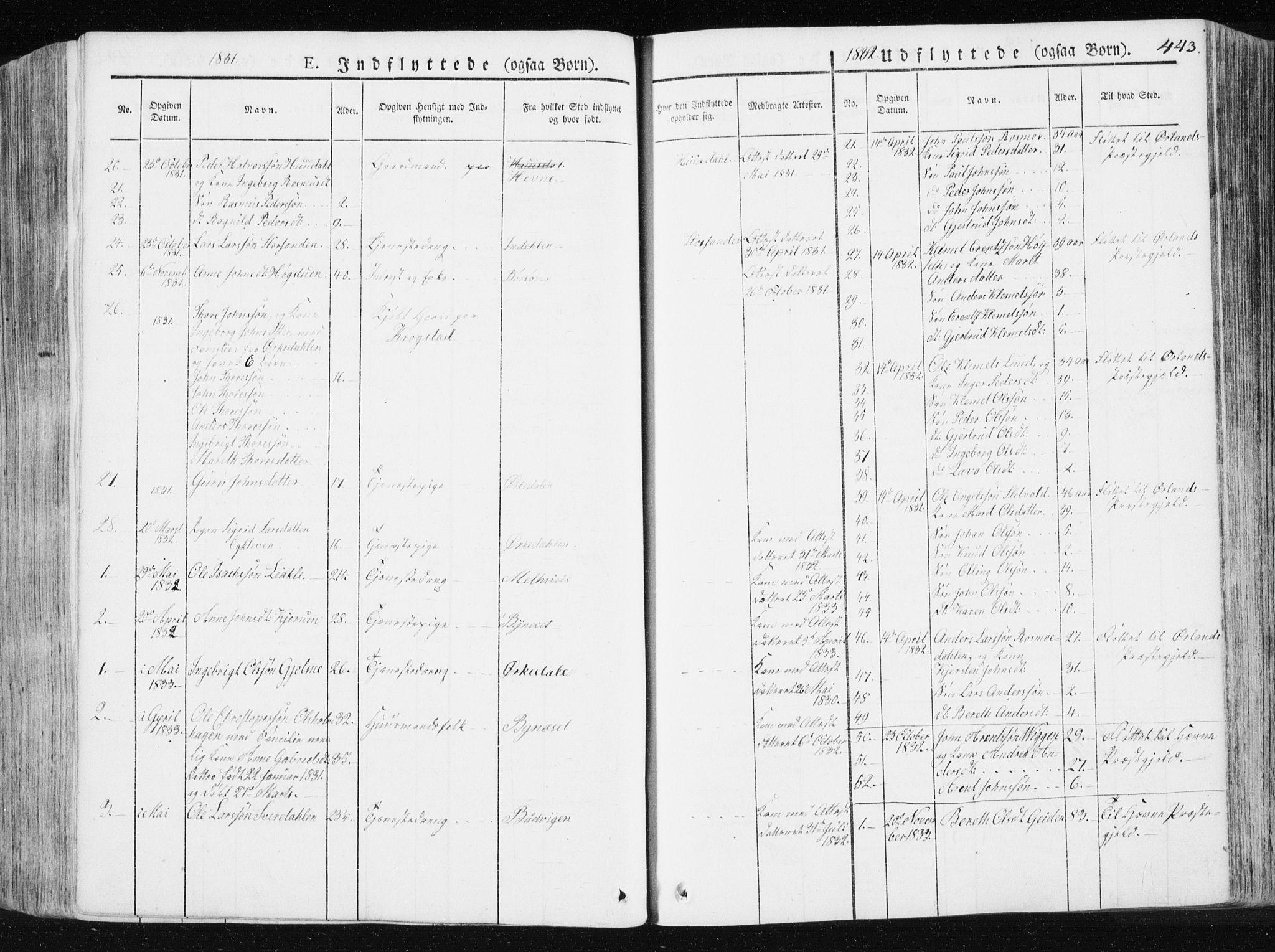SAT, Ministerialprotokoller, klokkerbøker og fødselsregistre - Sør-Trøndelag, 665/L0771: Ministerialbok nr. 665A06, 1830-1856, s. 443