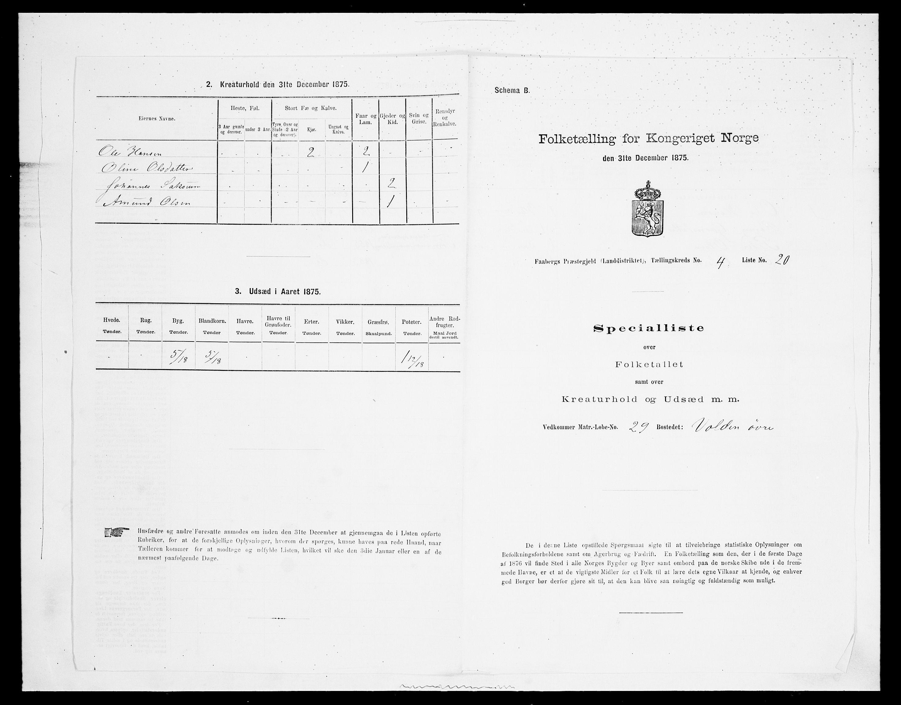 SAH, Folketelling 1875 for 0524L Fåberg prestegjeld, Fåberg sokn og Lillehammer landsokn, 1875, s. 531