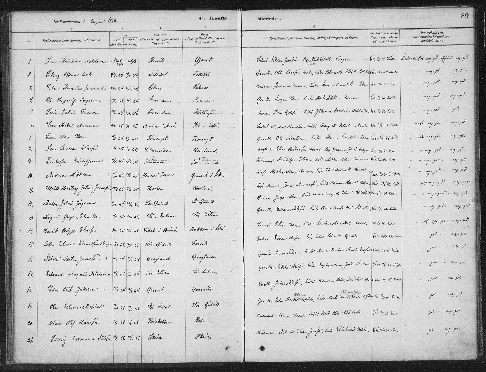 SAT, Ministerialprotokoller, klokkerbøker og fødselsregistre - Nord-Trøndelag, 788/L0697: Ministerialbok nr. 788A04, 1878-1902, s. 89