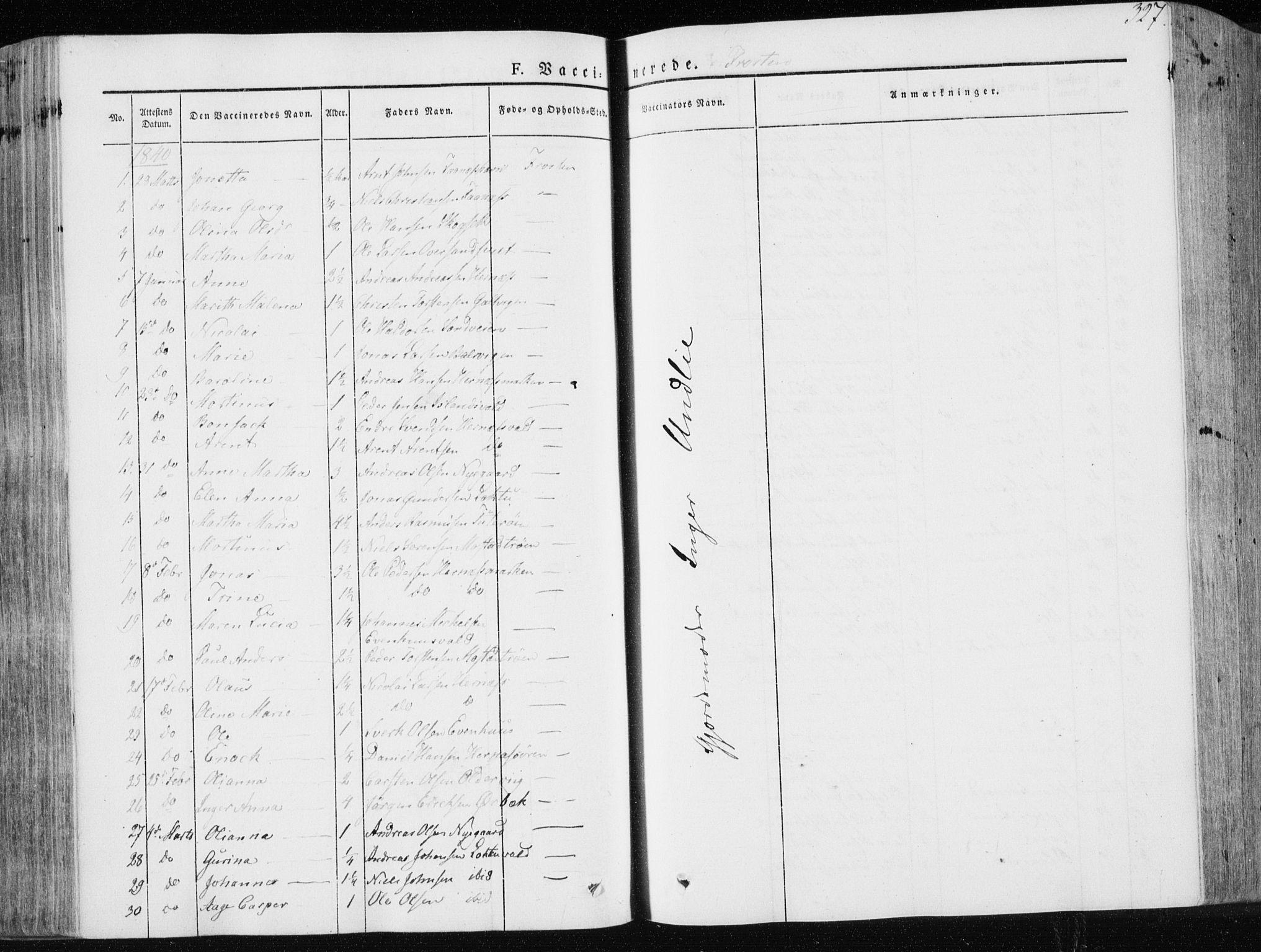 SAT, Ministerialprotokoller, klokkerbøker og fødselsregistre - Nord-Trøndelag, 713/L0115: Ministerialbok nr. 713A06, 1838-1851, s. 327