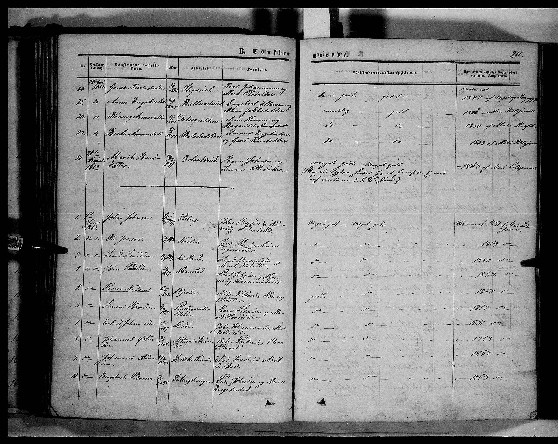 SAH, Sør-Fron prestekontor, H/Ha/Haa/L0001: Ministerialbok nr. 1, 1849-1863, s. 211