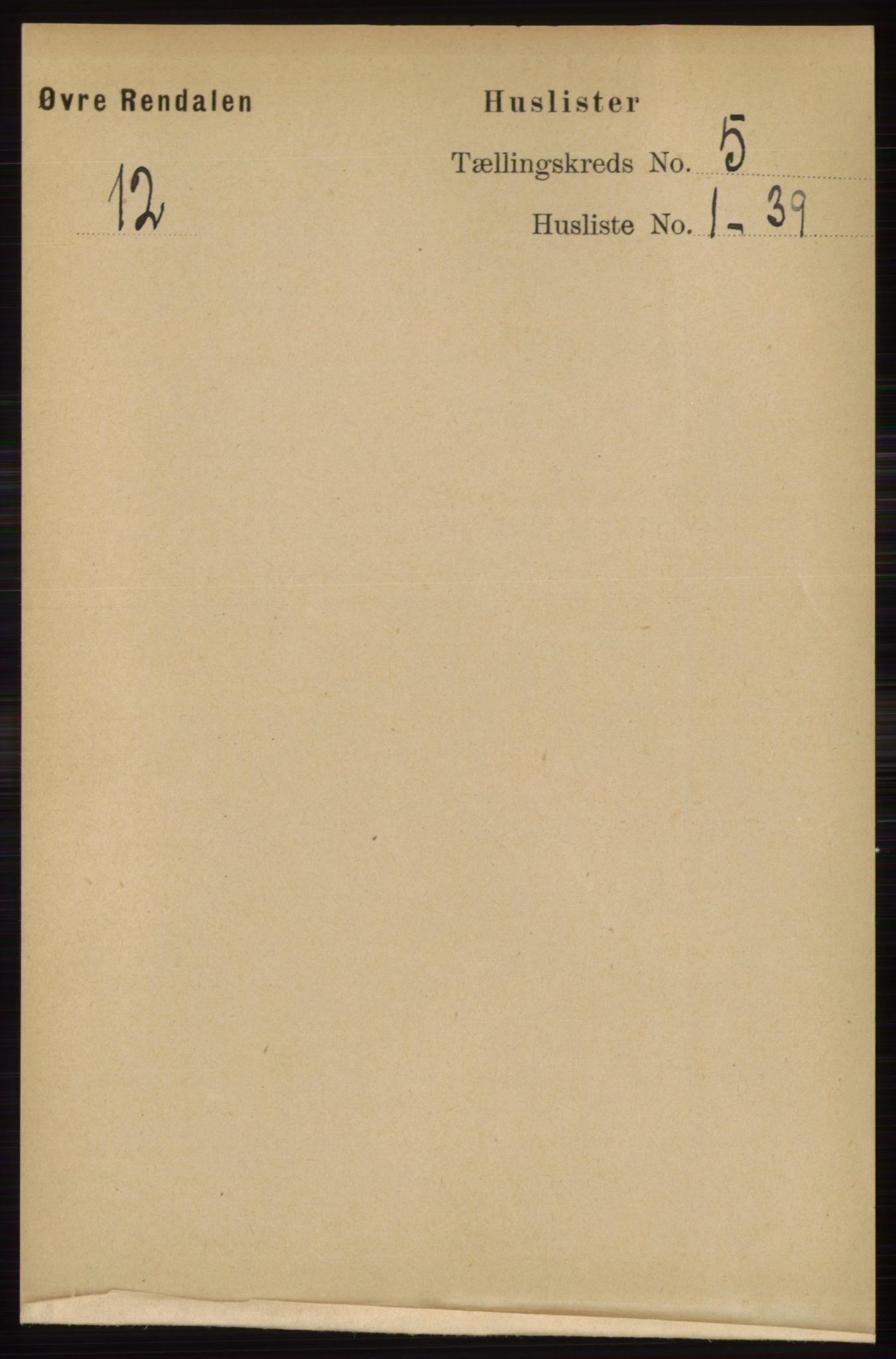 RA, Folketelling 1891 for 0433 Øvre Rendal herred, 1891, s. 1264