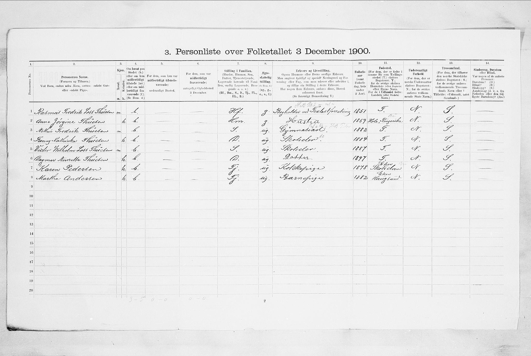RA, Folketelling 1900 for 0602 Drammen kjøpstad, 1900, s. 3102