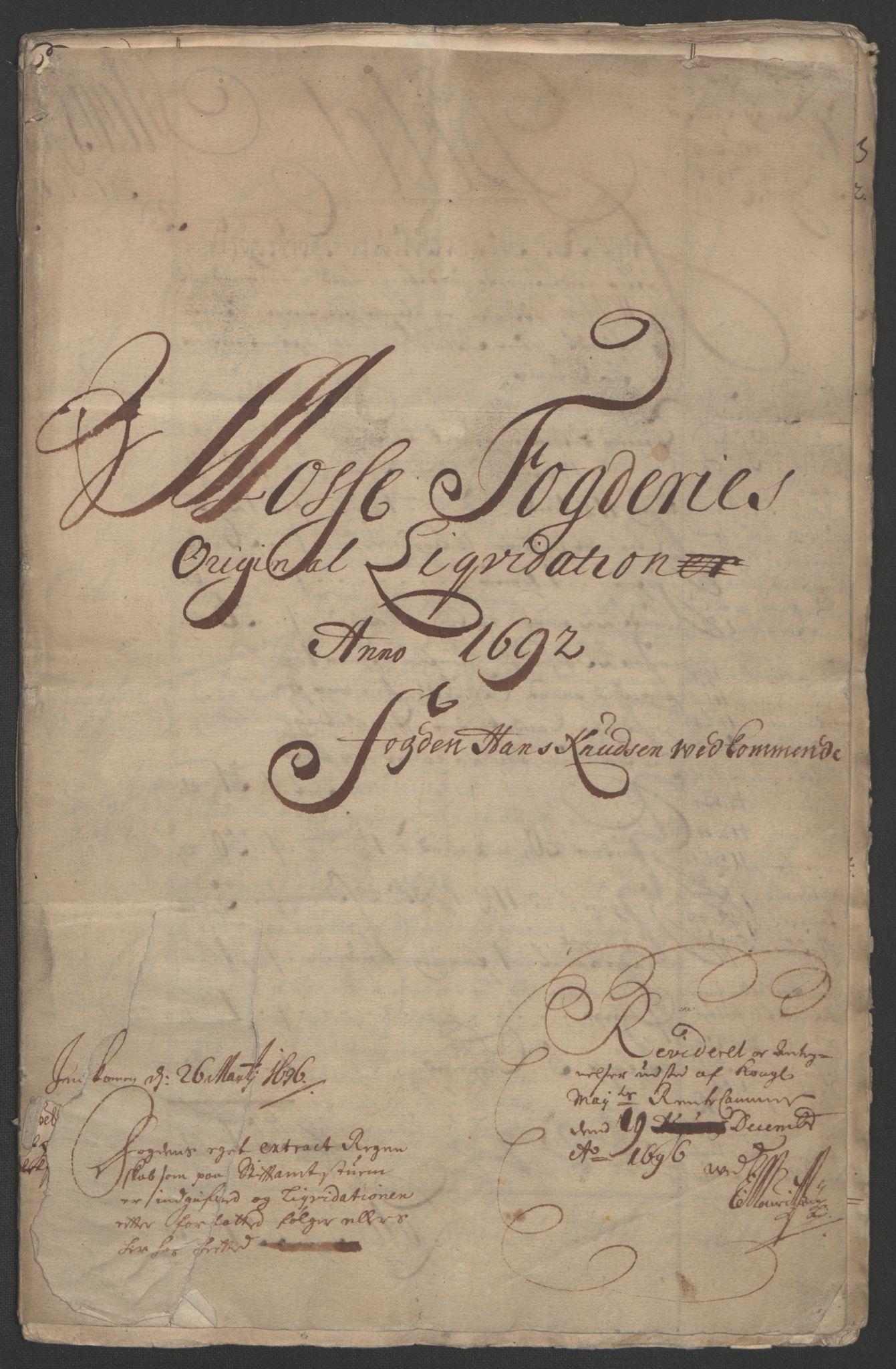 RA, Rentekammeret inntil 1814, Reviderte regnskaper, Fogderegnskap, R02/L0108: Fogderegnskap Moss og Verne kloster, 1692-1693, s. 2