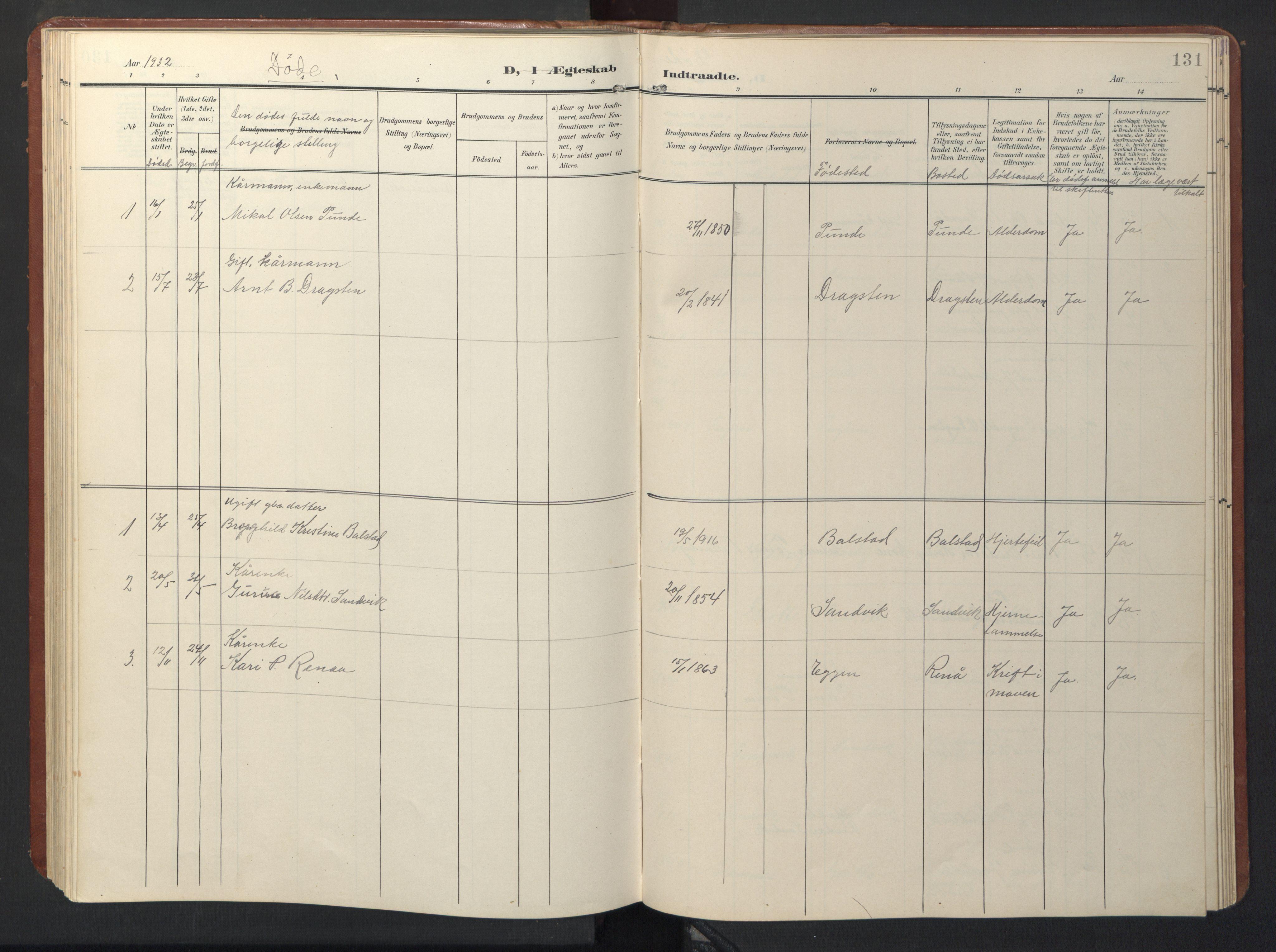 SAT, Ministerialprotokoller, klokkerbøker og fødselsregistre - Sør-Trøndelag, 696/L1161: Klokkerbok nr. 696C01, 1902-1950, s. 131