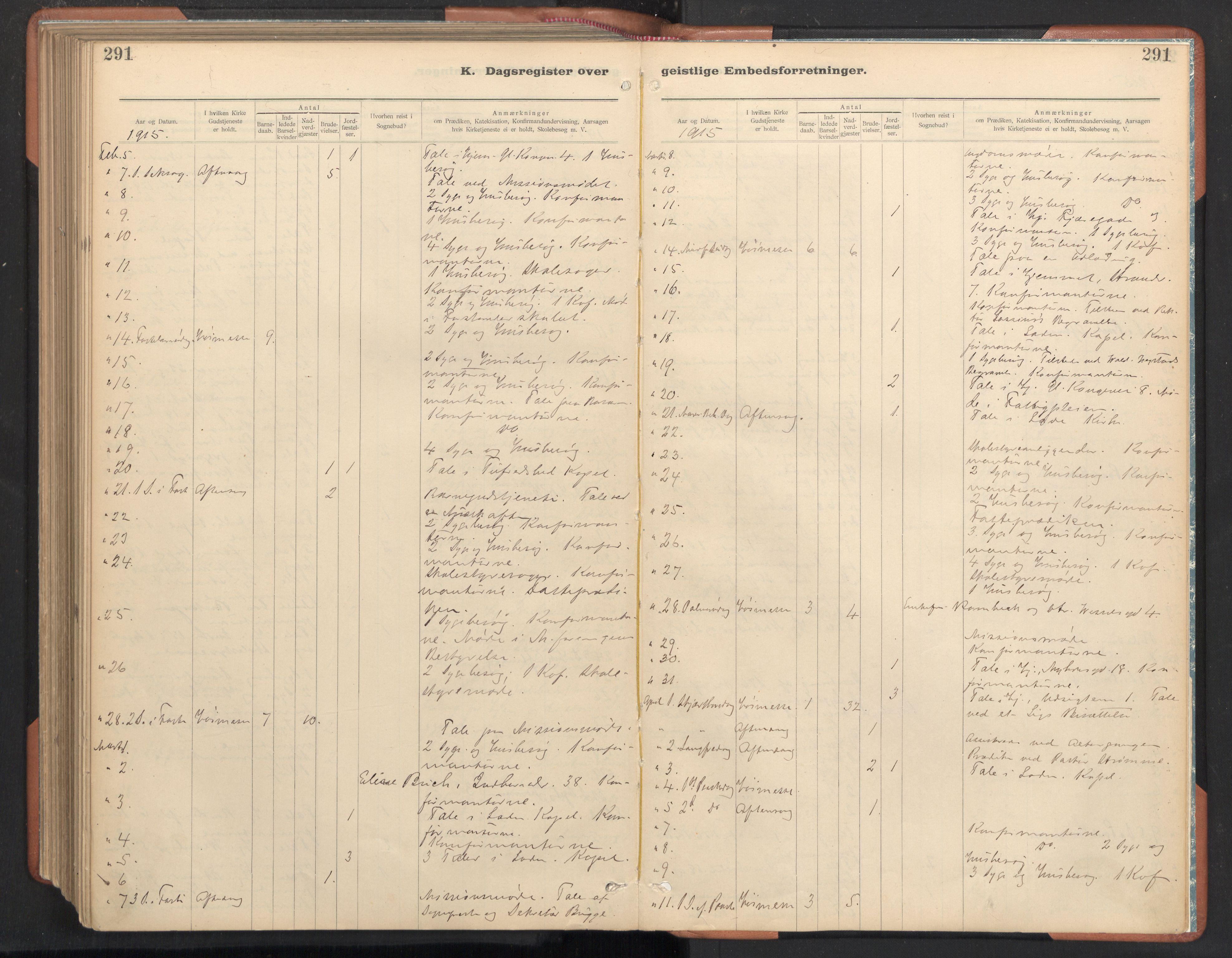 SAT, Ministerialprotokoller, klokkerbøker og fødselsregistre - Sør-Trøndelag, 605/L0244: Ministerialbok nr. 605A06, 1908-1954, s. 291