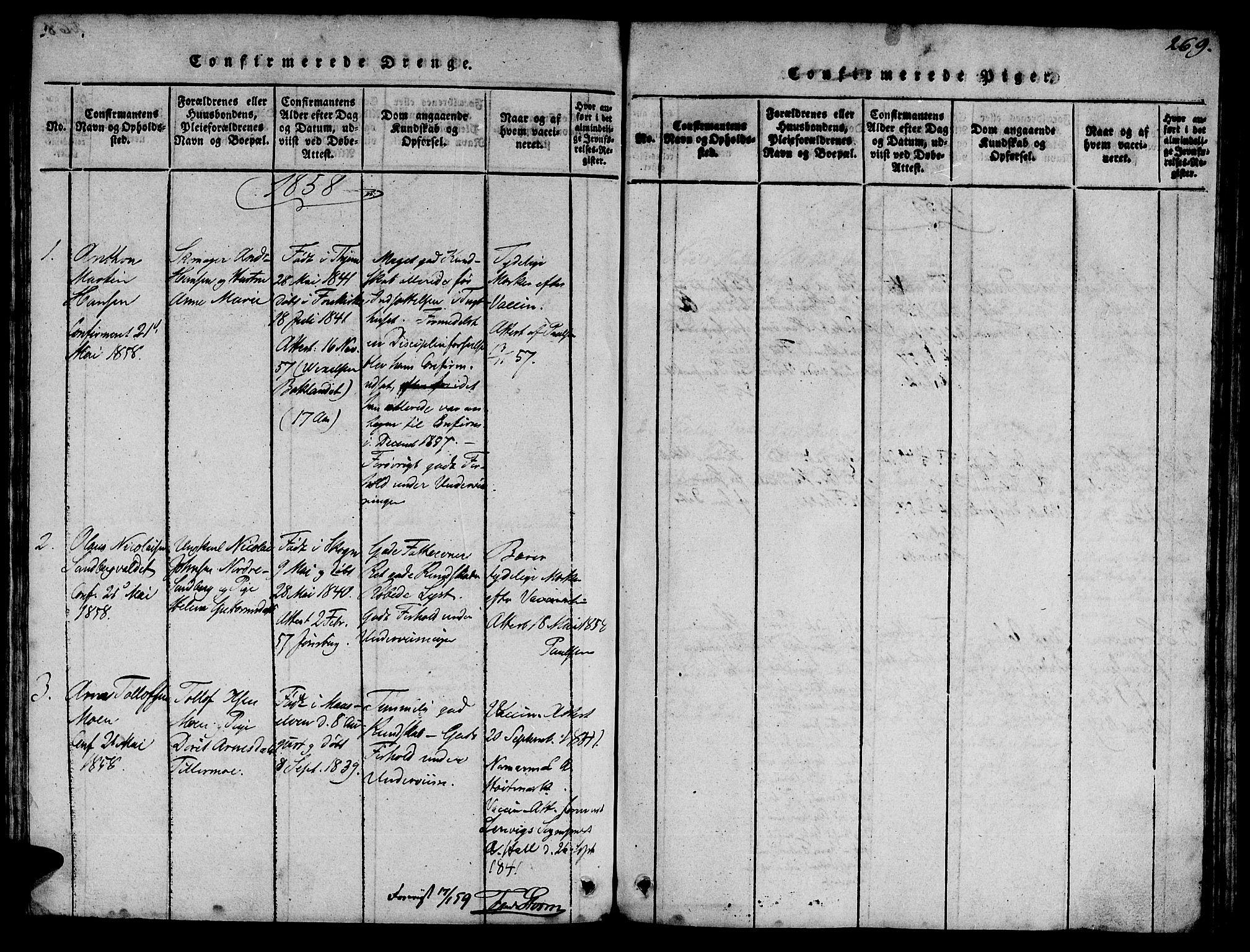 SAT, Ministerialprotokoller, klokkerbøker og fødselsregistre - Sør-Trøndelag, 623/L0478: Klokkerbok nr. 623C01, 1815-1873, s. 269