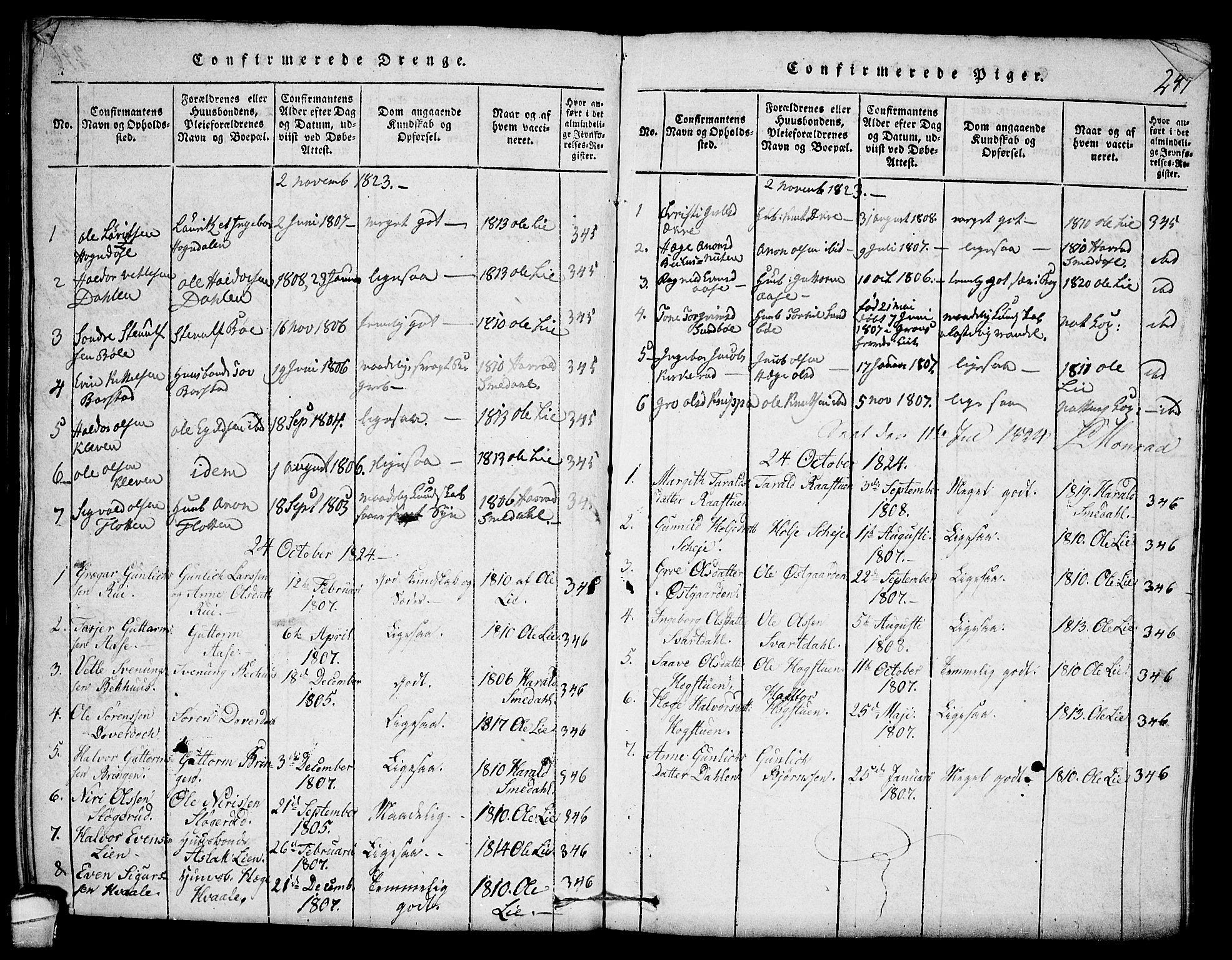 SAKO, Seljord kirkebøker, F/Fb/L0001: Ministerialbok nr. II 1, 1815-1831, s. 247