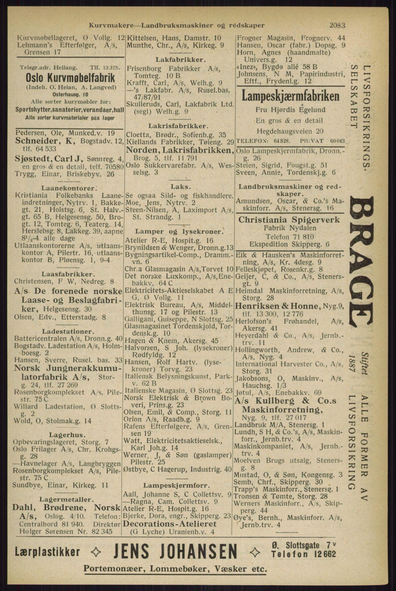 RA, Oslo adressebok (publikasjon)*, 1927, s. 2083
