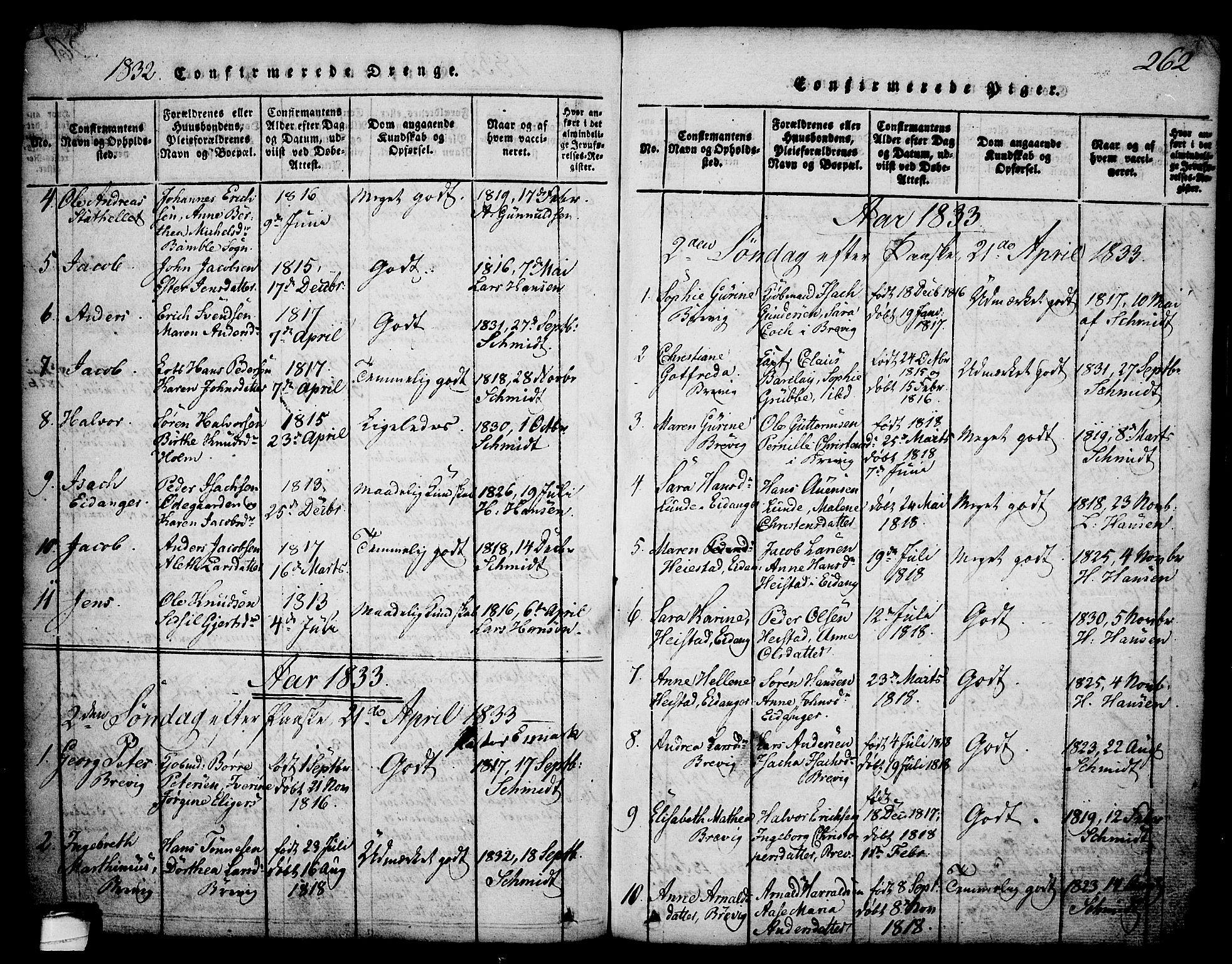 SAKO, Brevik kirkebøker, G/Ga/L0001: Klokkerbok nr. 1, 1814-1845, s. 262