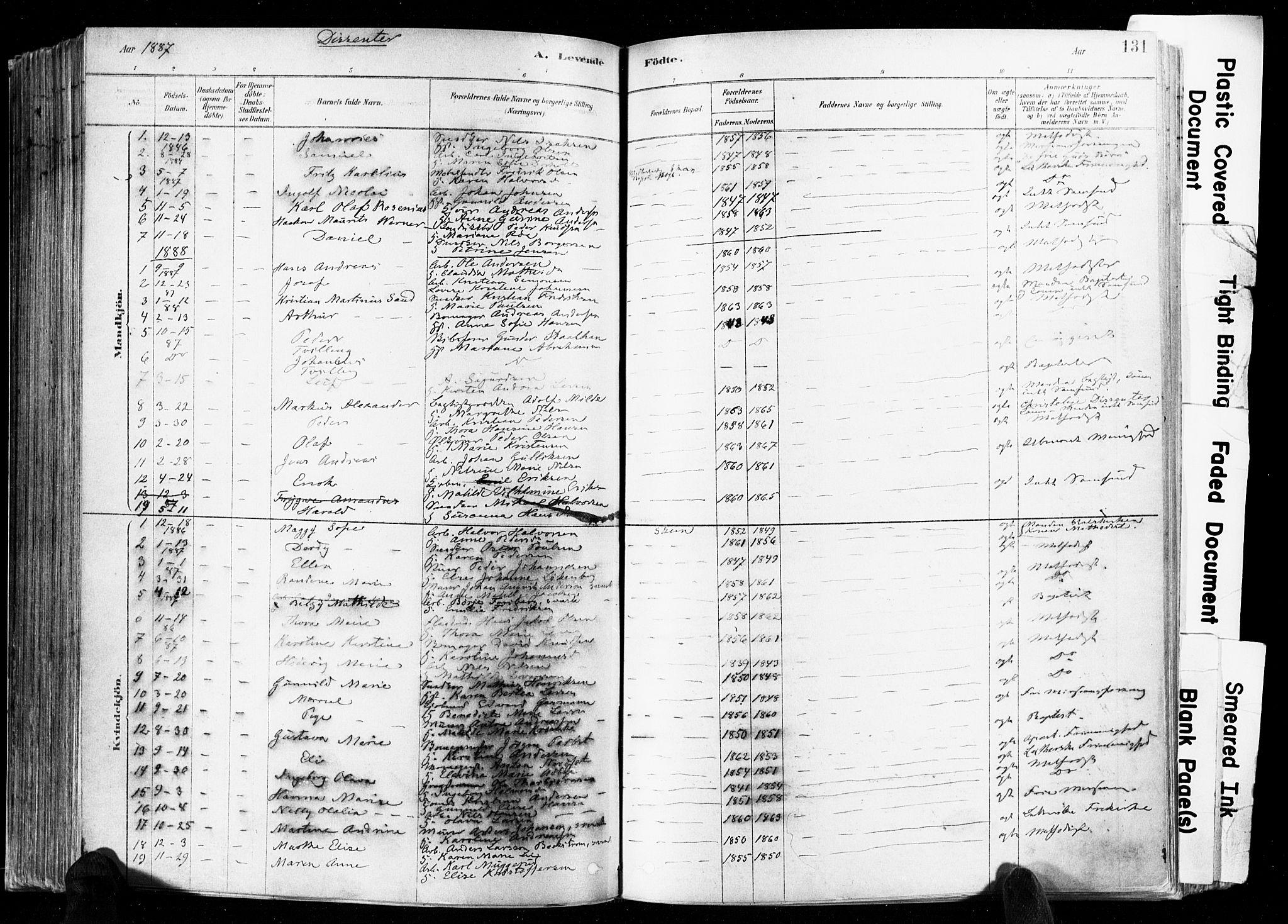 SAKO, Skien kirkebøker, F/Fa/L0009: Ministerialbok nr. 9, 1878-1890, s. 131