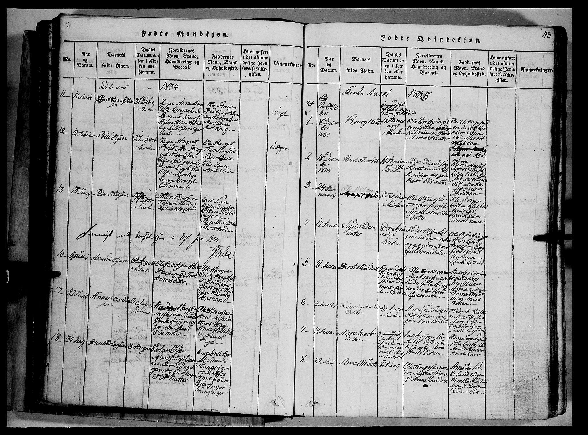 SAH, Fron prestekontor, H/Ha/Hab/L0002: Klokkerbok nr. 2, 1816-1850, s. 48