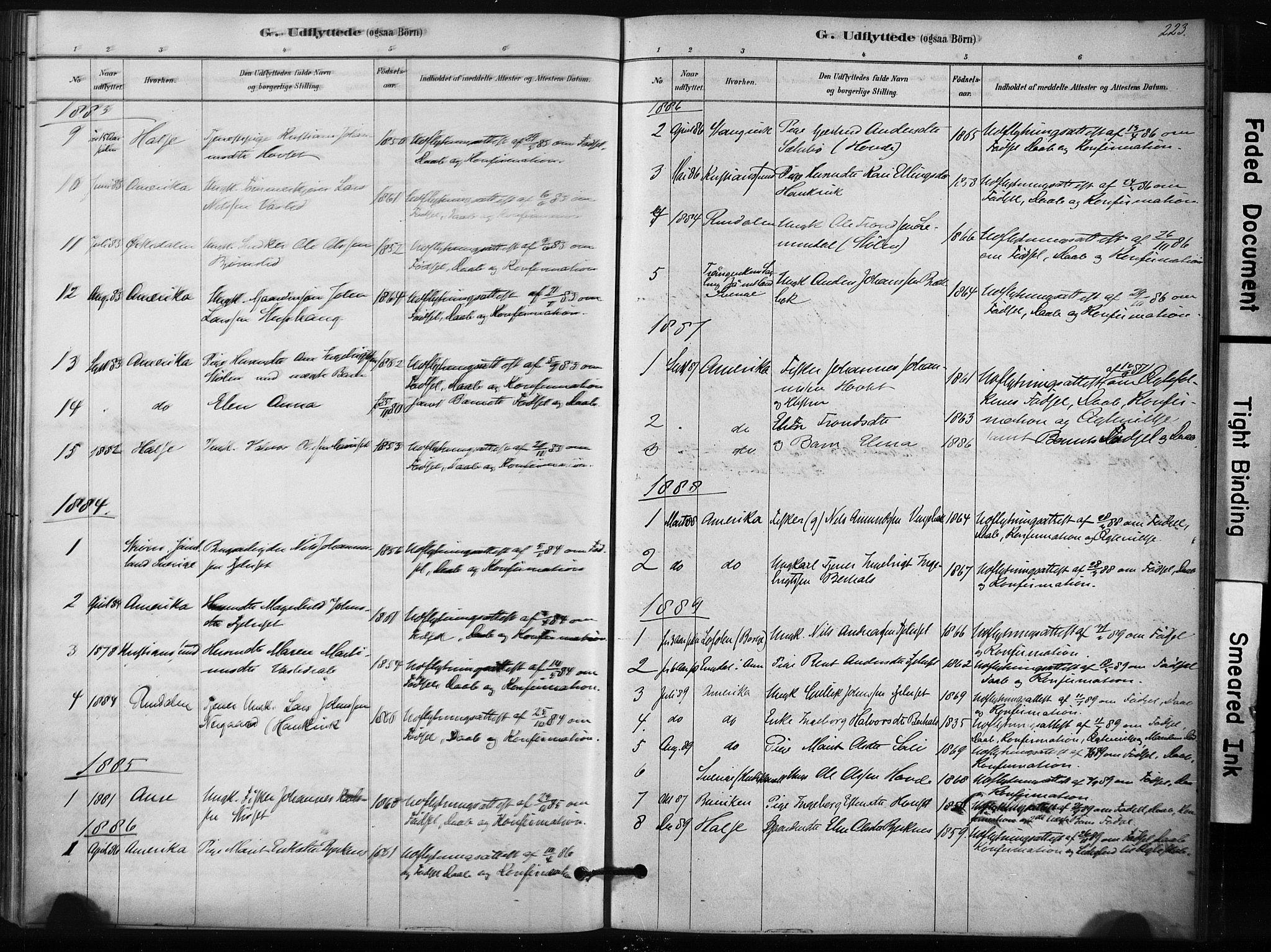 SAT, Ministerialprotokoller, klokkerbøker og fødselsregistre - Sør-Trøndelag, 631/L0512: Ministerialbok nr. 631A01, 1879-1912, s. 223