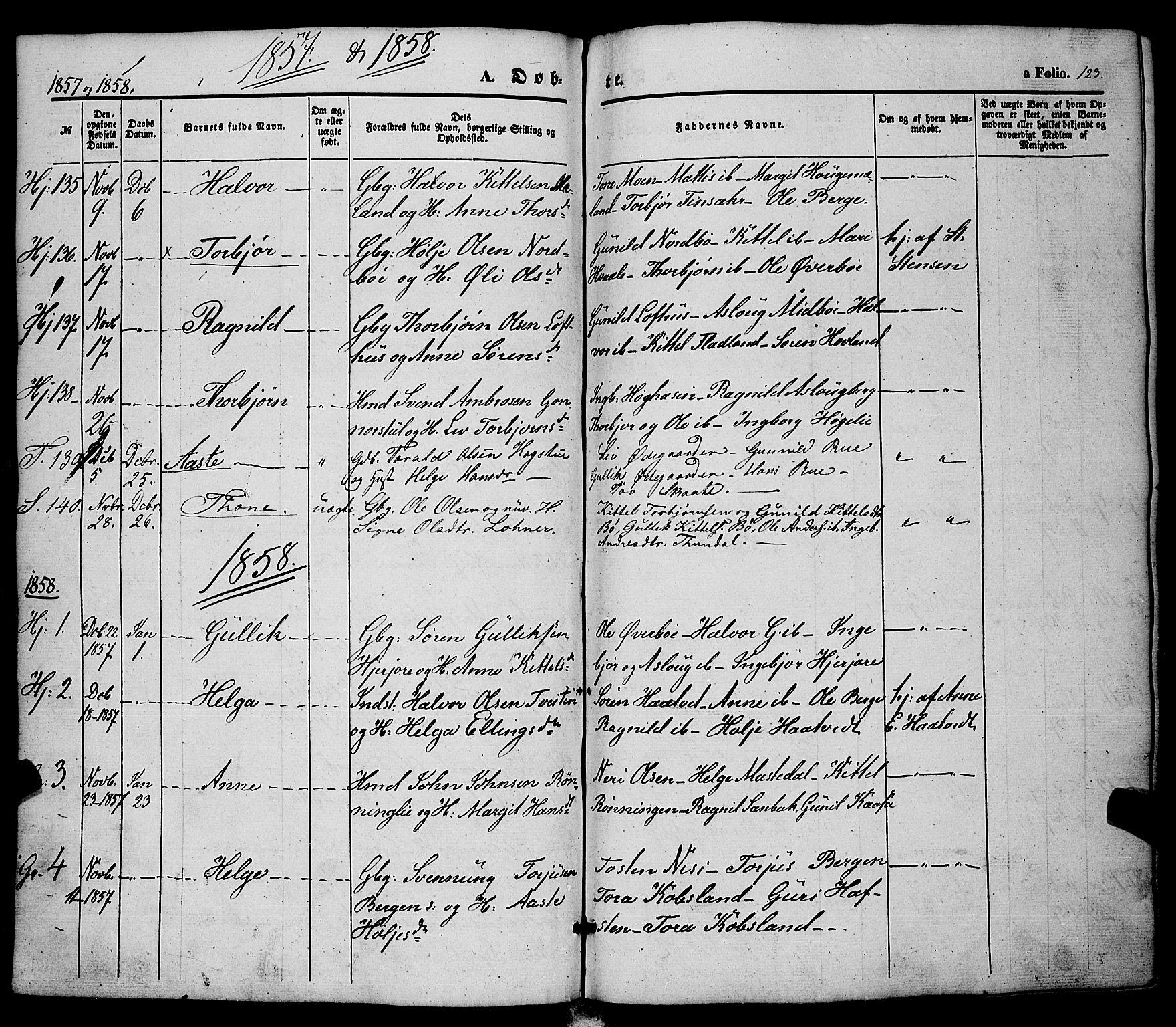 SAKO, Hjartdal kirkebøker, F/Fa/L0008: Ministerialbok nr. I 8, 1844-1859, s. 123