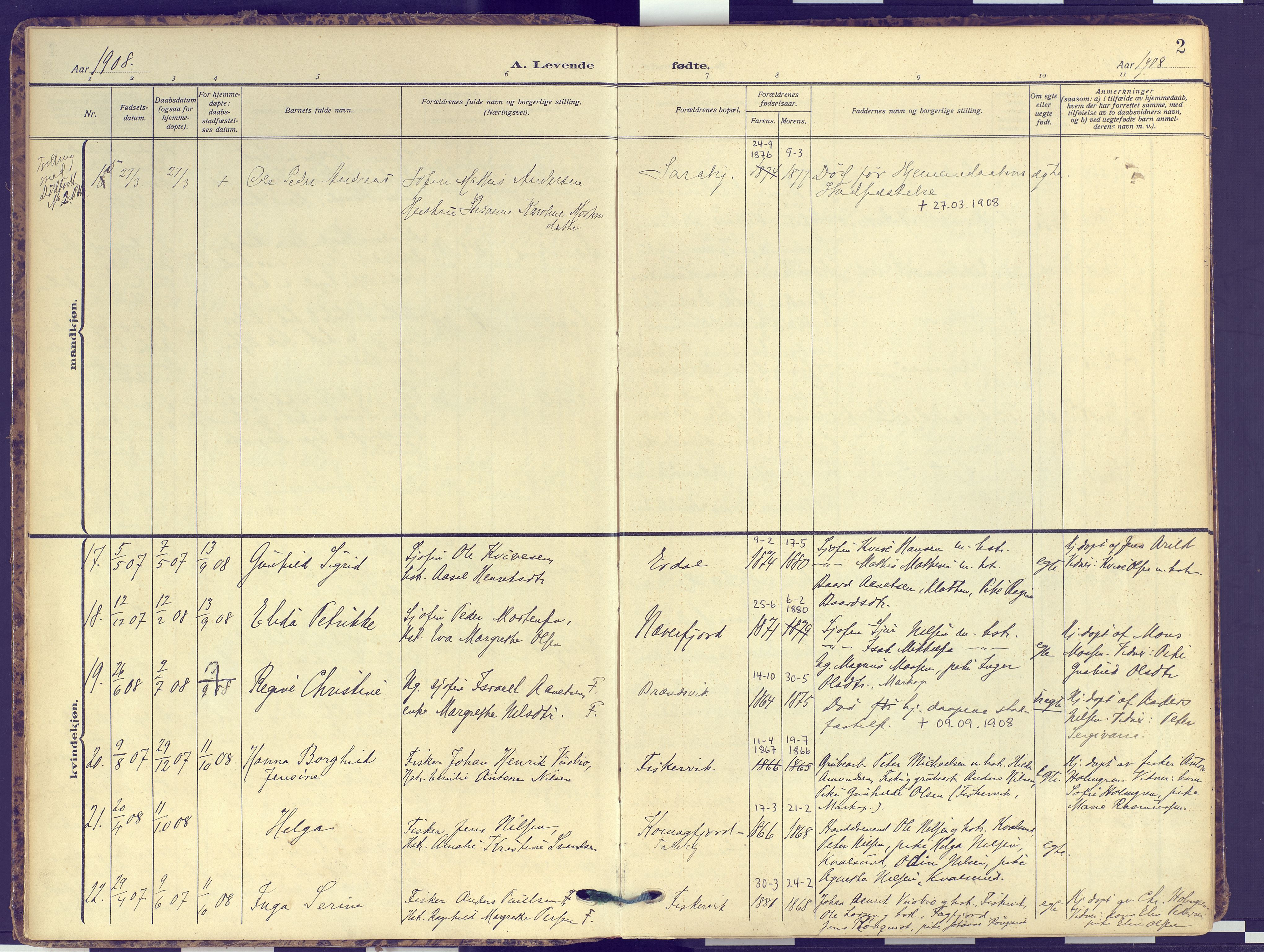 SATØ, Hammerfest sokneprestembete, Ministerialbok nr. 16, 1908-1923, s. 2