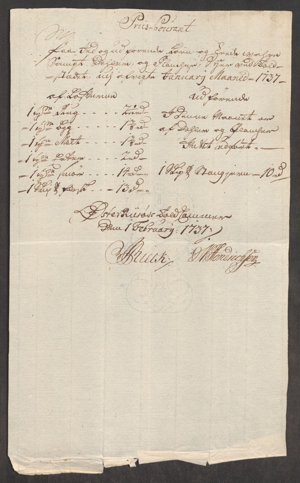 RA, Rentekammeret inntil 1814, Realistisk ordnet avdeling, Oe/L0001: [Ø1]: Priskuranter, 1712-1739, s. 597