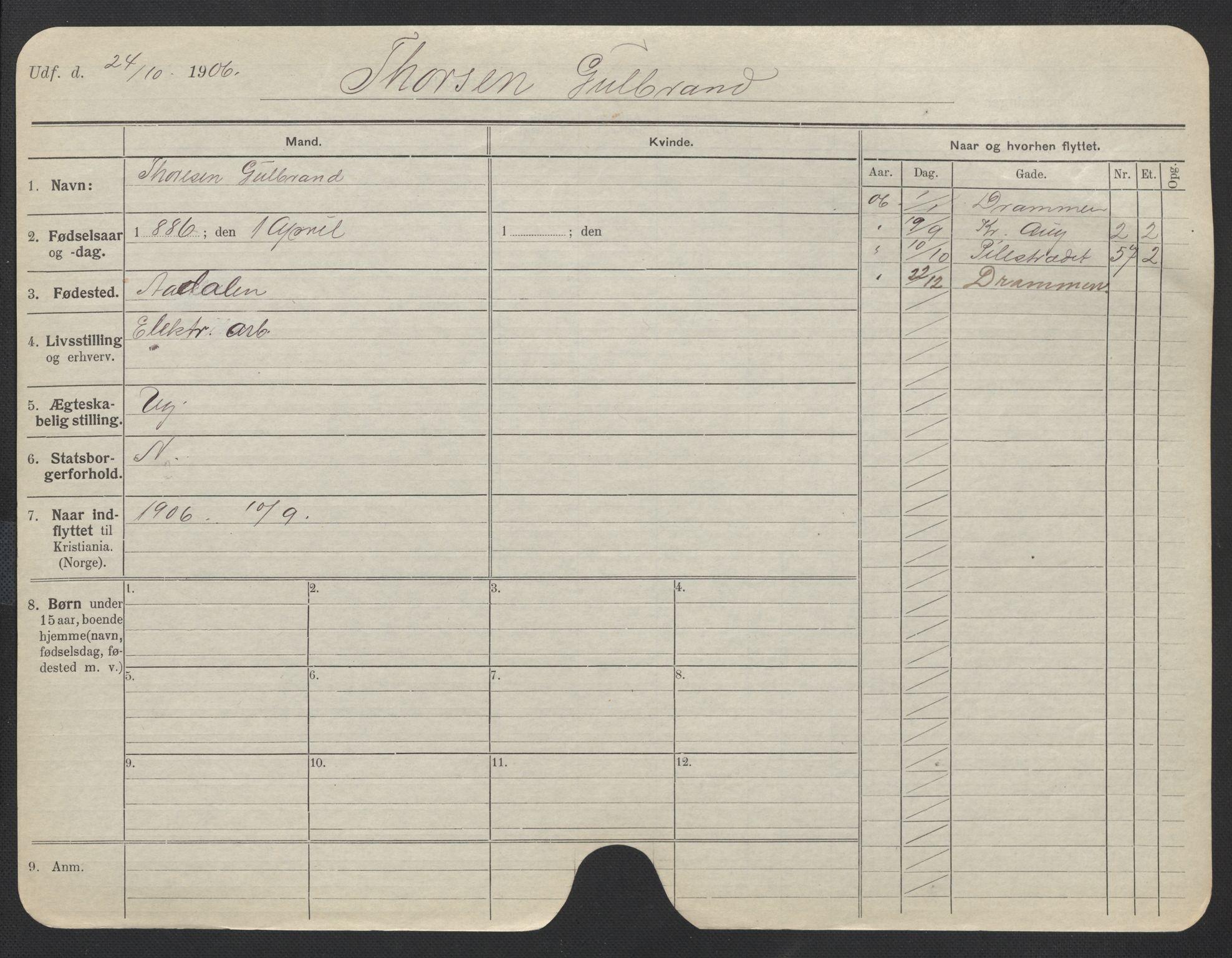 SAO, Oslo folkeregister, Registerkort, F/Fa/Fac/L0011: Menn, 1906-1914, s. 301a