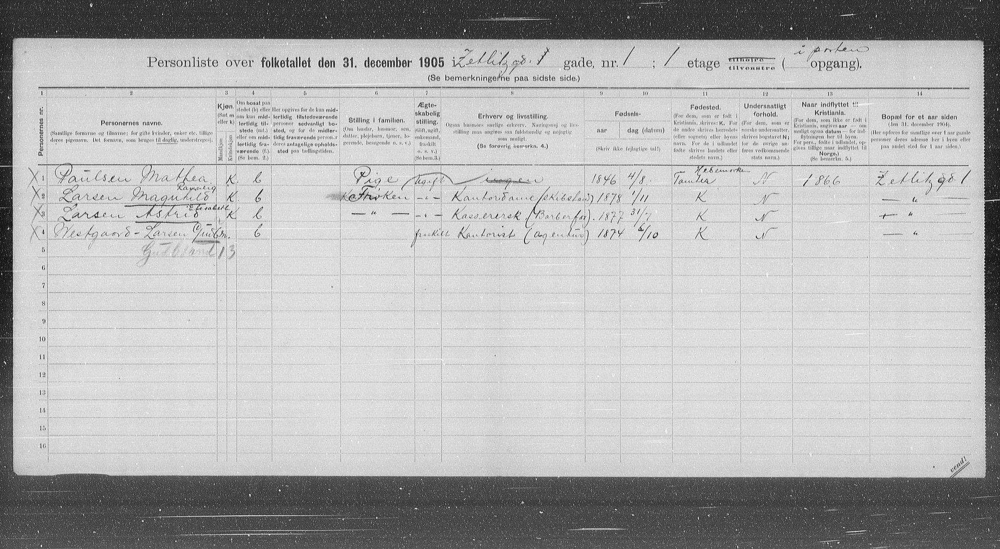 OBA, Kommunal folketelling 1905 for Kristiania kjøpstad, 1905, s. 67619