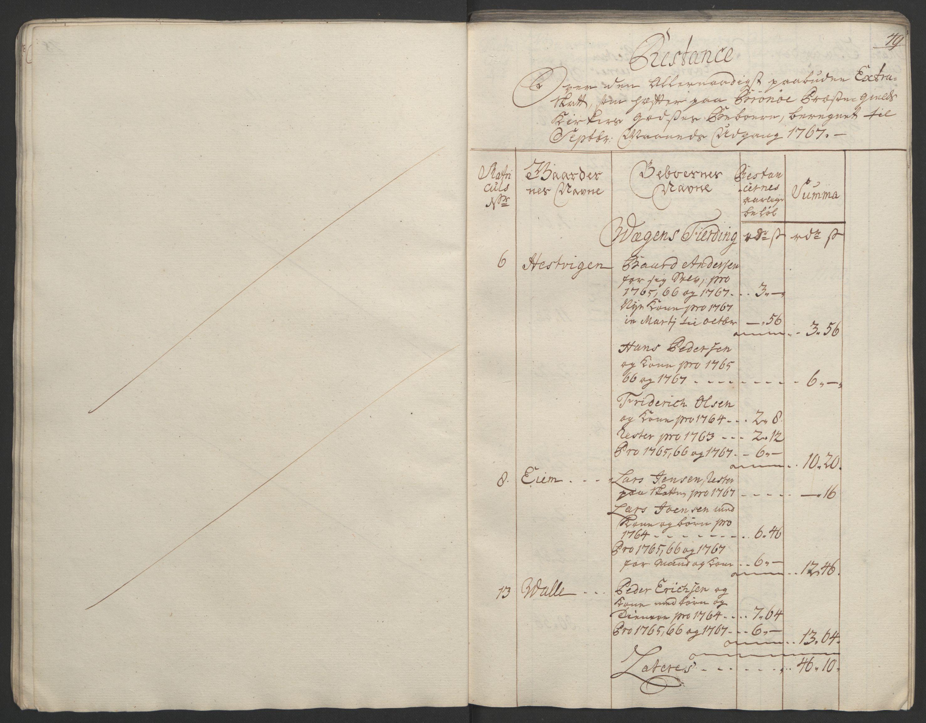RA, Rentekammeret inntil 1814, Realistisk ordnet avdeling, Ol/L0023: [Gg 10]: Ekstraskatten, 23.09.1762. Helgeland (restanseregister), 1767-1772, s. 50