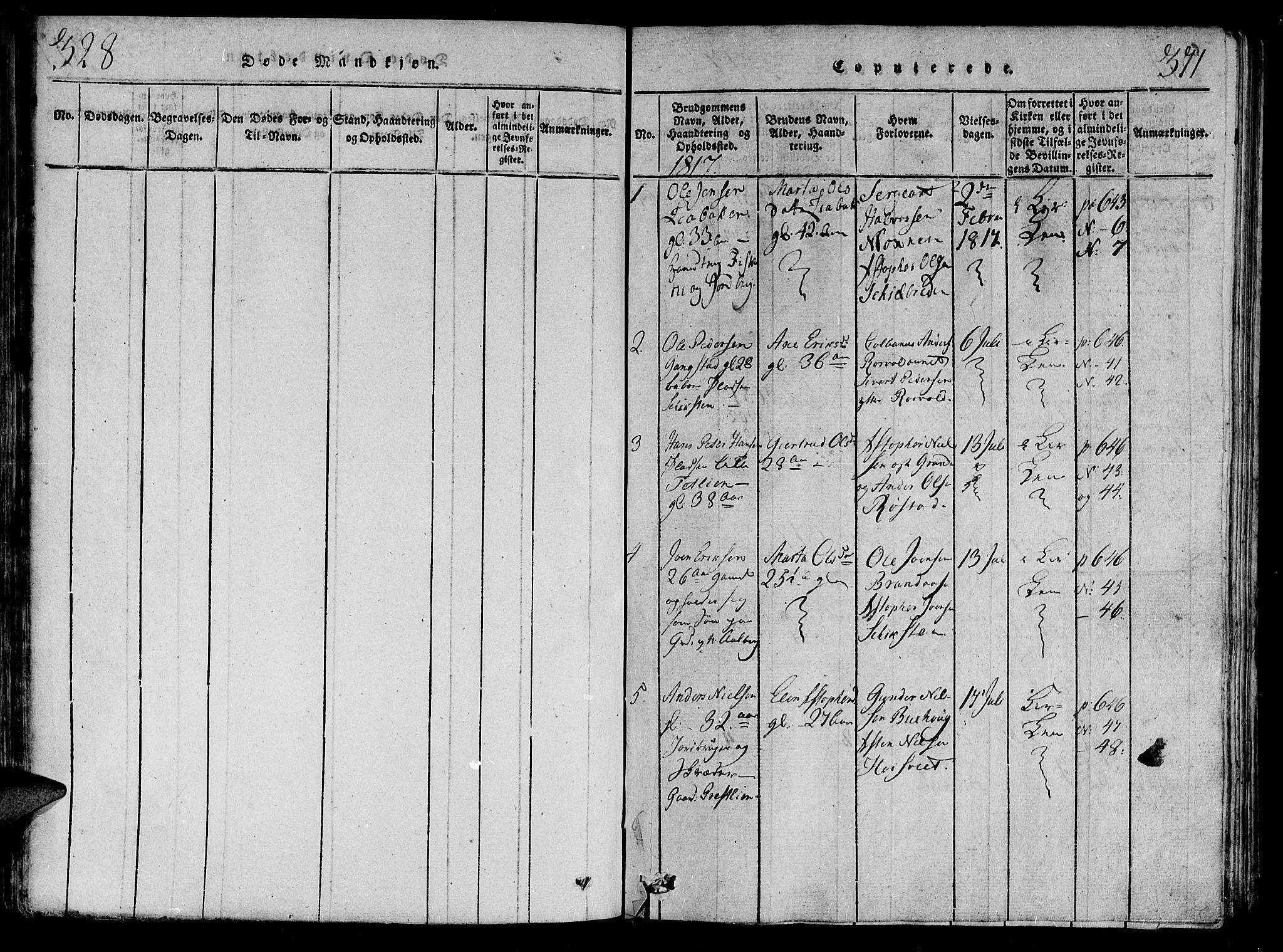 SAT, Ministerialprotokoller, klokkerbøker og fødselsregistre - Nord-Trøndelag, 701/L0005: Ministerialbok nr. 701A05 /1, 1816-1825, s. 328-371
