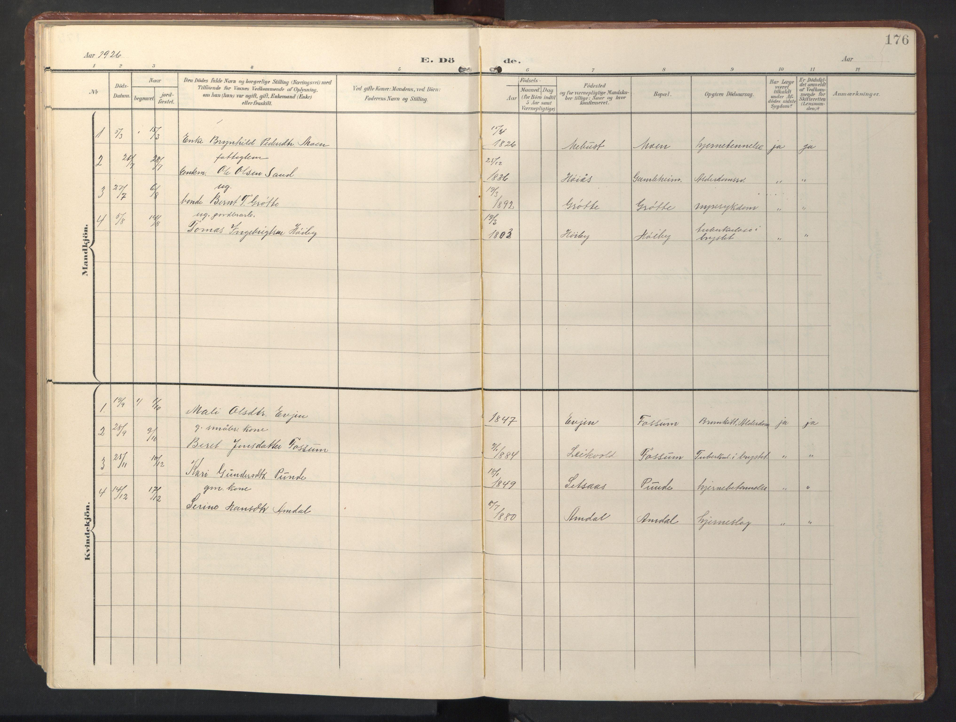 SAT, Ministerialprotokoller, klokkerbøker og fødselsregistre - Sør-Trøndelag, 696/L1161: Klokkerbok nr. 696C01, 1902-1950, s. 176