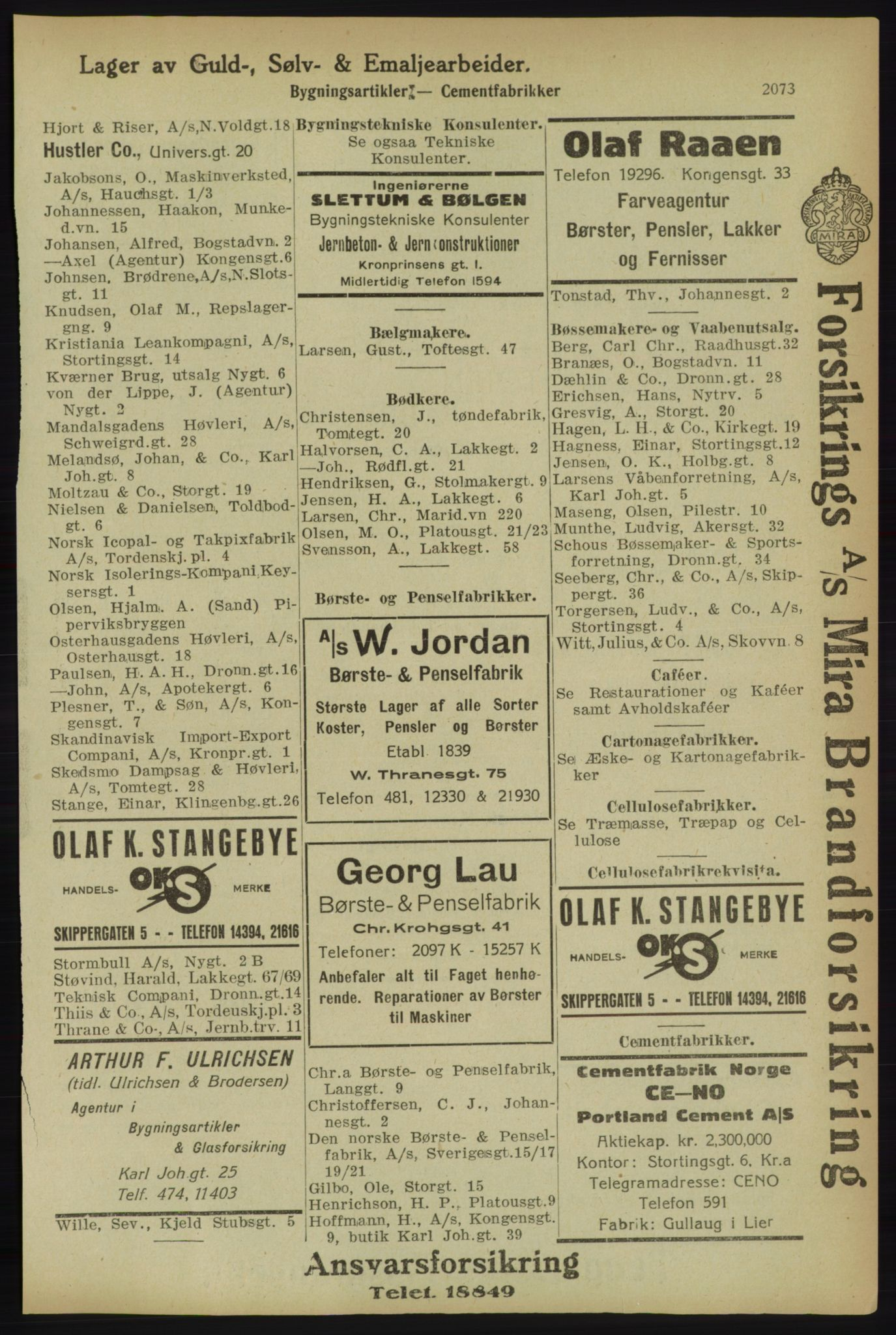 RA, Kristiania adressebok (publikasjon)*, 1918, s. 2073