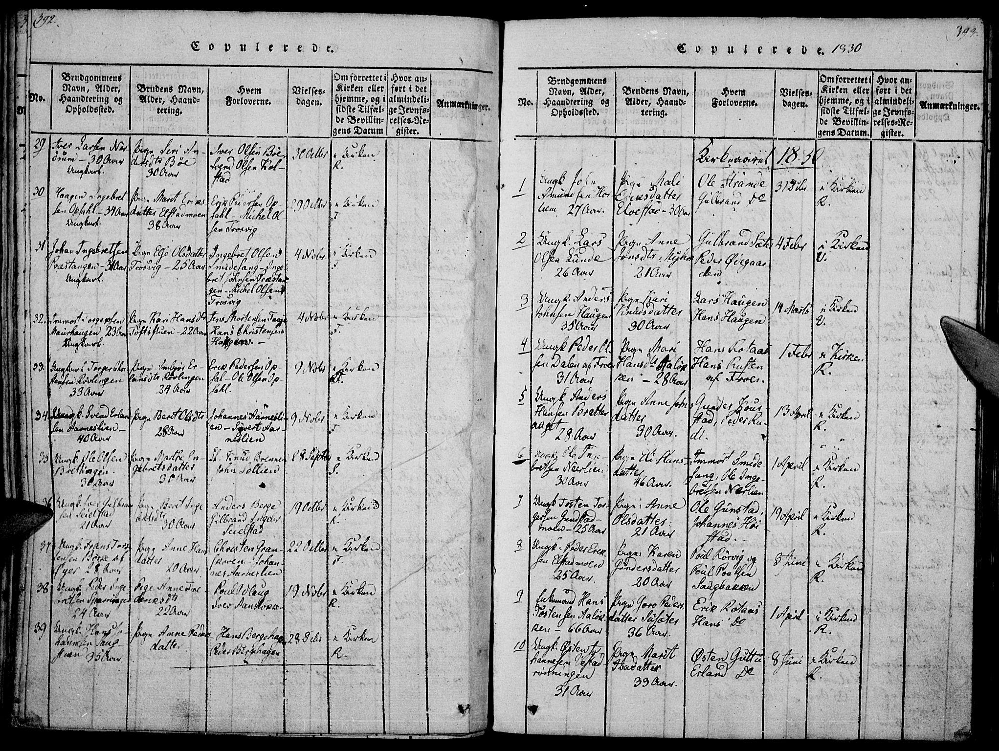SAH, Ringebu prestekontor, Ministerialbok nr. 4, 1821-1839, s. 392-393