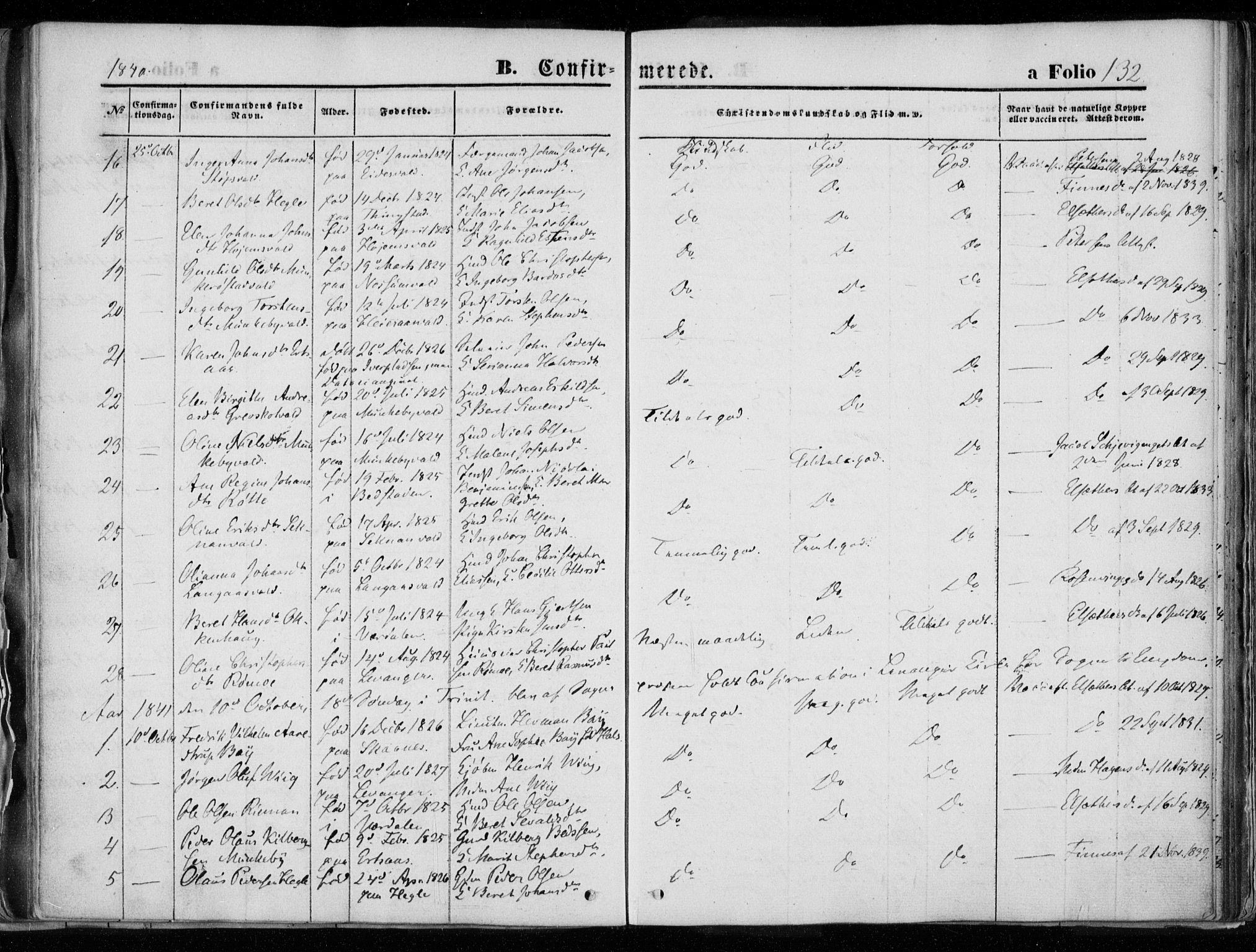 SAT, Ministerialprotokoller, klokkerbøker og fødselsregistre - Nord-Trøndelag, 720/L0183: Ministerialbok nr. 720A01, 1836-1855, s. 132