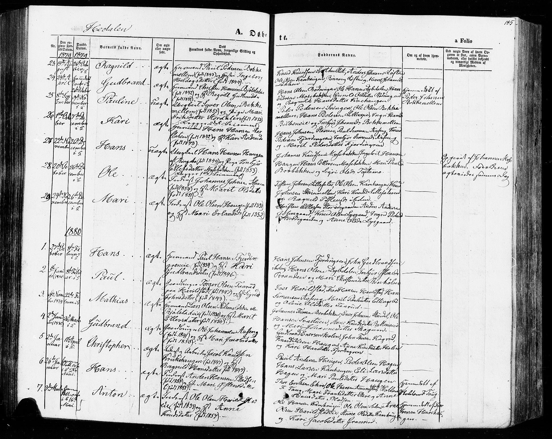 SAH, Vågå prestekontor, Ministerialbok nr. 7 /2, 1873-1886, s. 185