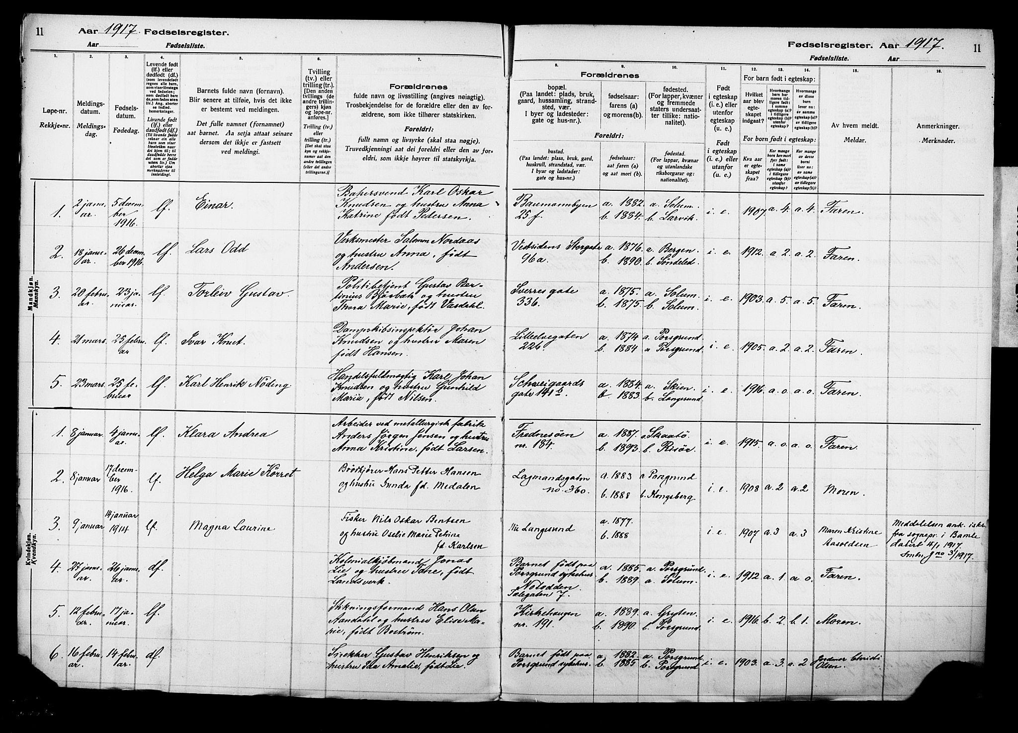 SAKO, Porsgrunn kirkebøker , J/Ja/L0001: Fødselsregister nr. 1, 1916-1929, s. 11
