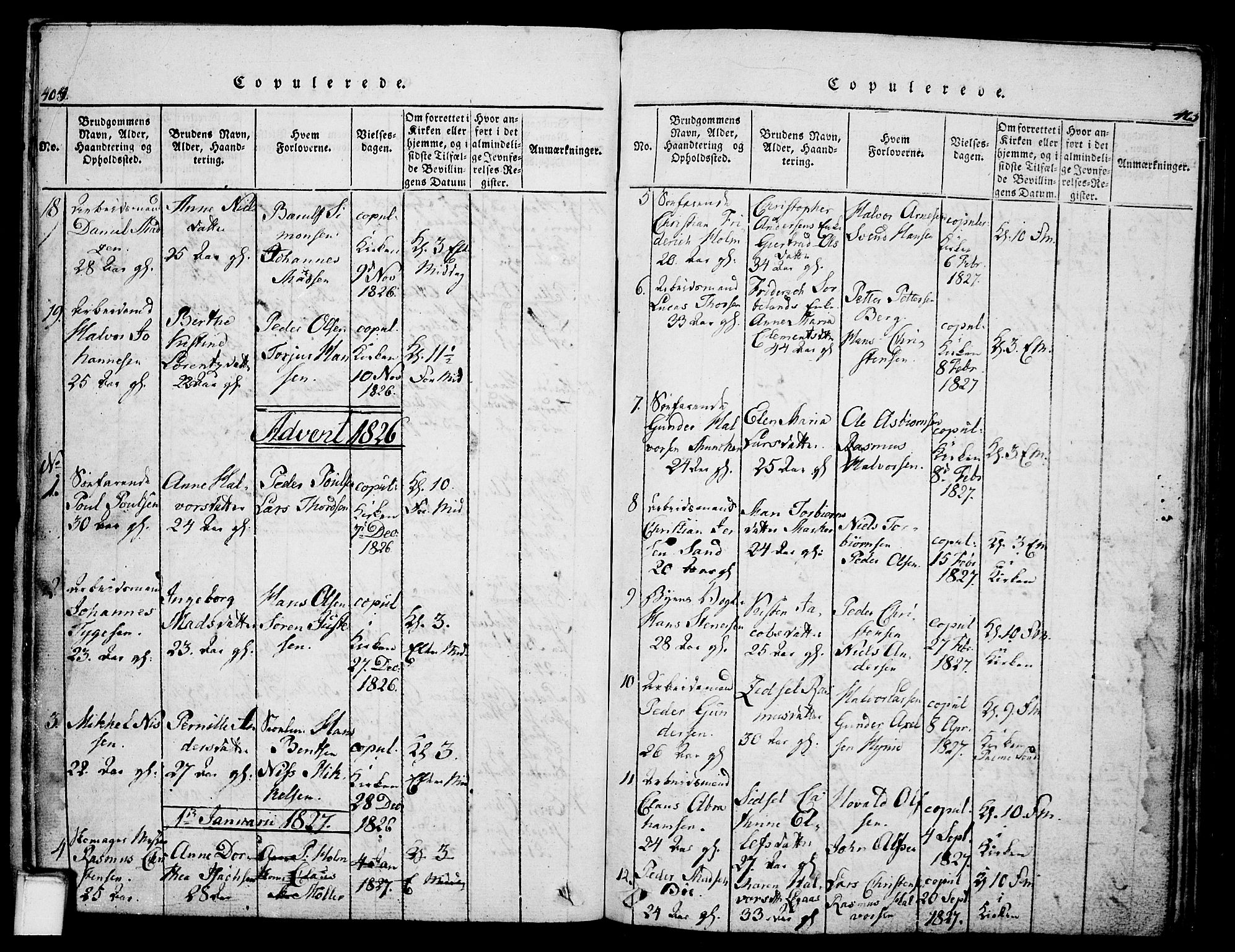 SAKO, Skien kirkebøker, G/Ga/L0002: Klokkerbok nr. 2, 1814-1842, s. 404-405