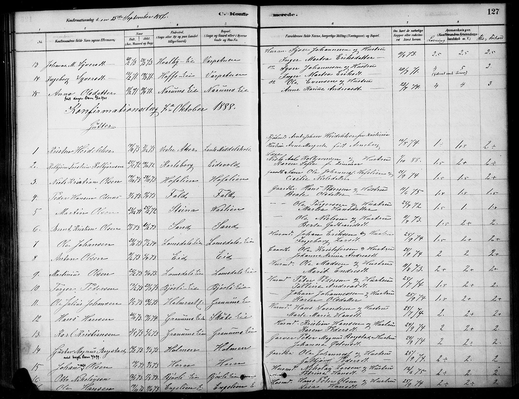 SAH, Søndre Land prestekontor, K/L0003: Ministerialbok nr. 3, 1878-1894, s. 127