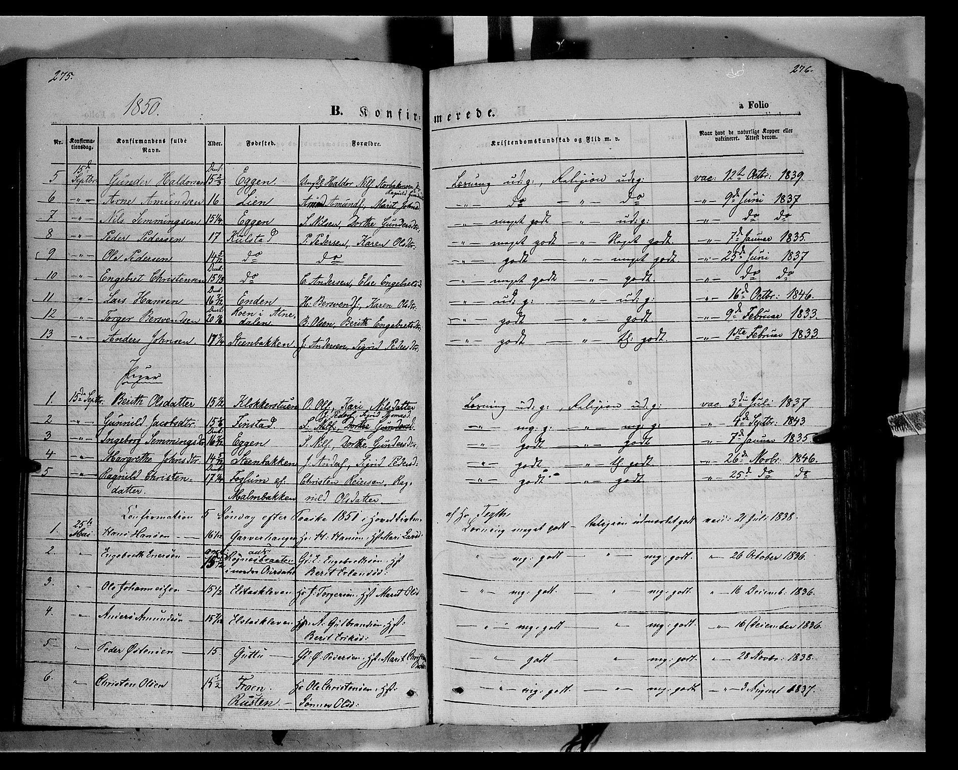 SAH, Ringebu prestekontor, Ministerialbok nr. 6, 1848-1859, s. 275-276