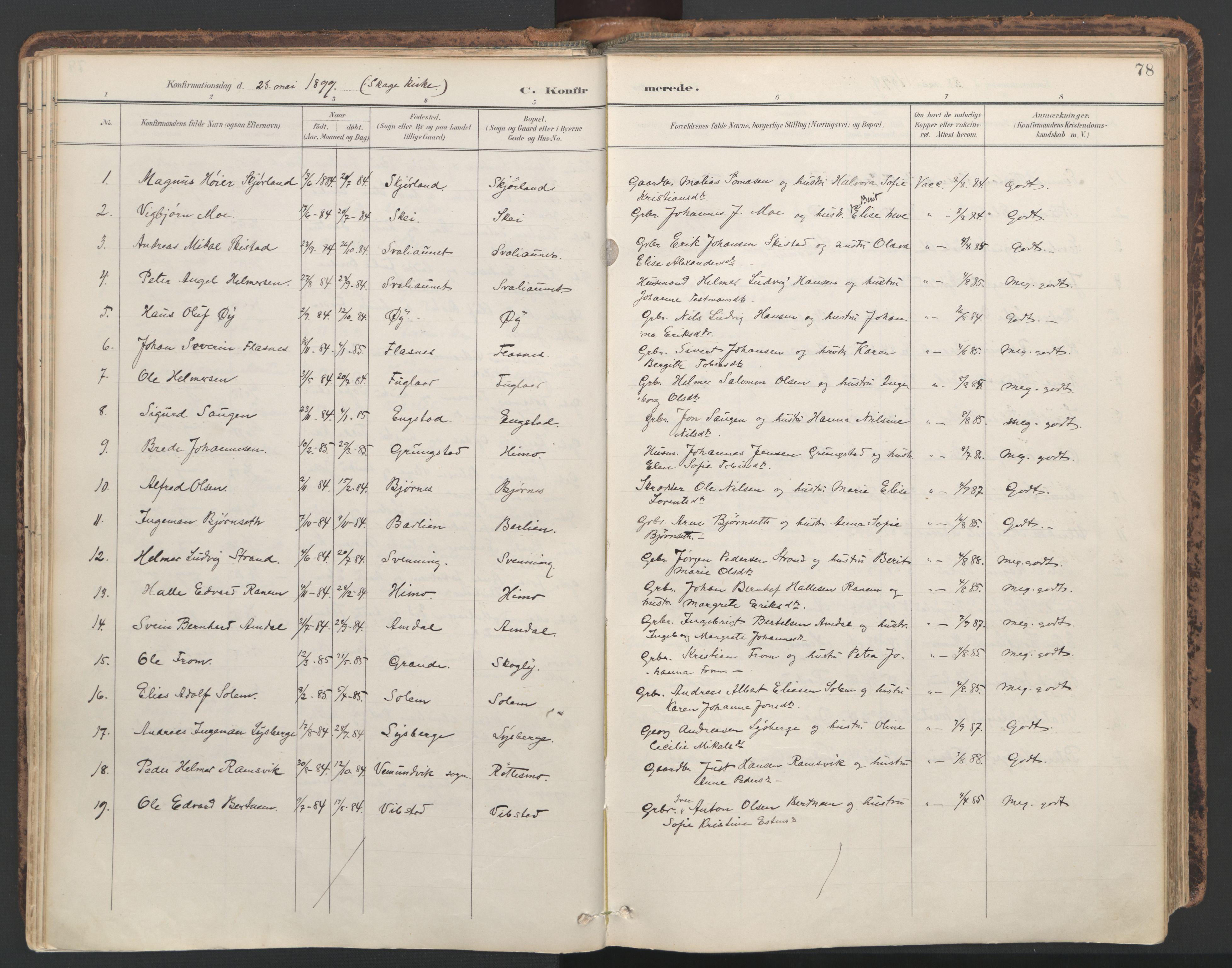 SAT, Ministerialprotokoller, klokkerbøker og fødselsregistre - Nord-Trøndelag, 764/L0556: Ministerialbok nr. 764A11, 1897-1924, s. 78