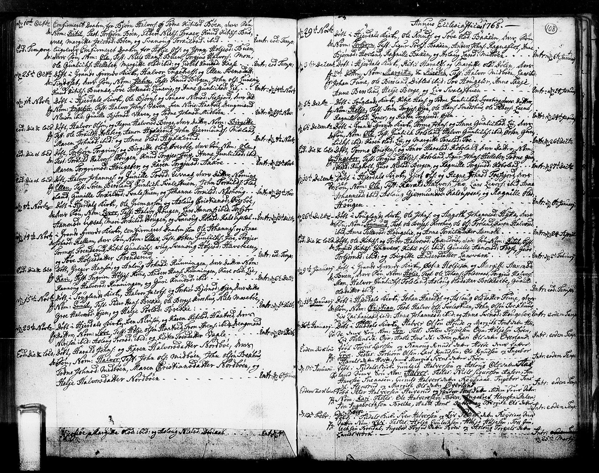 SAKO, Hjartdal kirkebøker, F/Fa/L0003: Ministerialbok nr. I 3, 1727-1775, s. 108