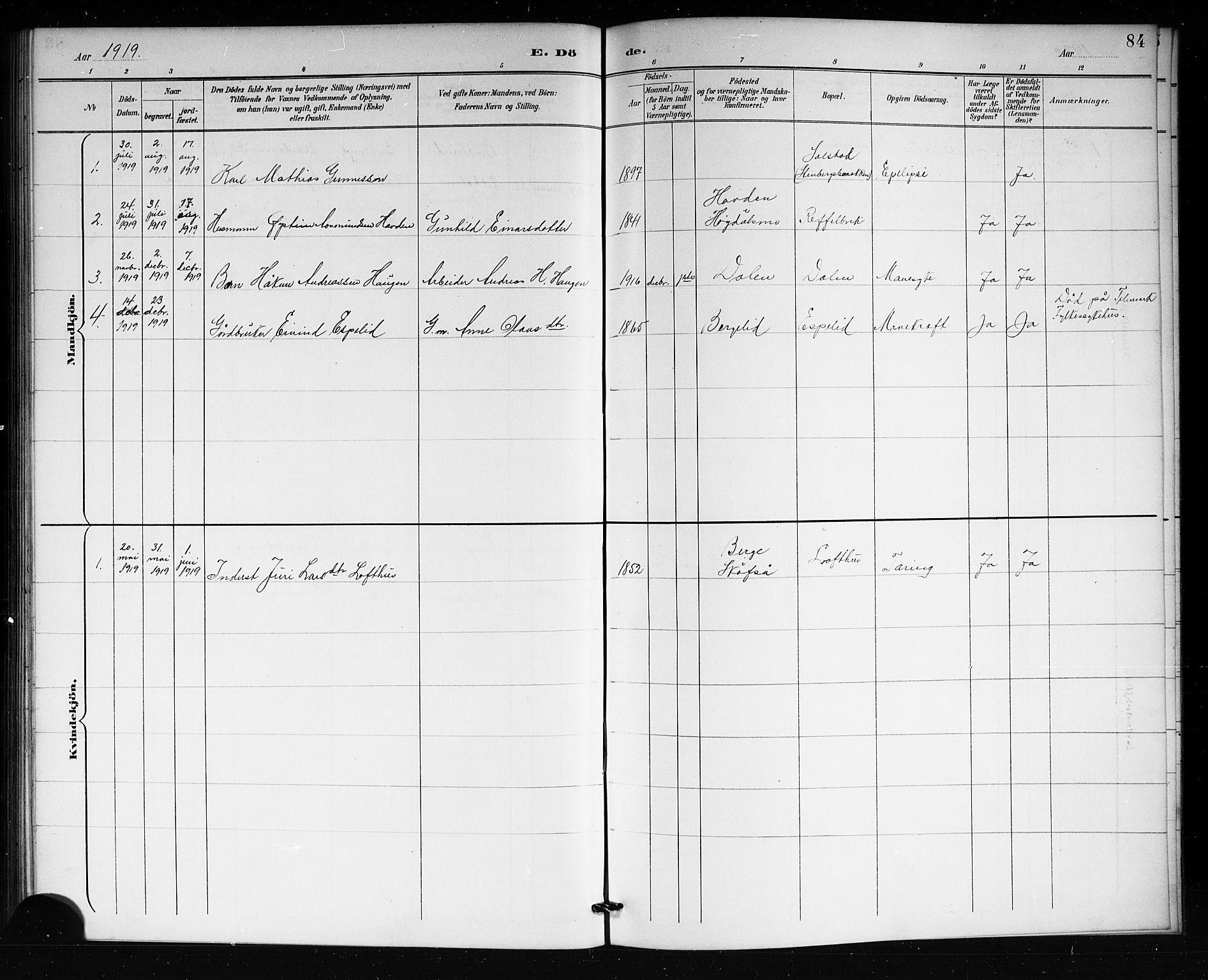 SAKO, Lårdal kirkebøker, G/Gb/L0003: Klokkerbok nr. II 3, 1889-1920, s. 84