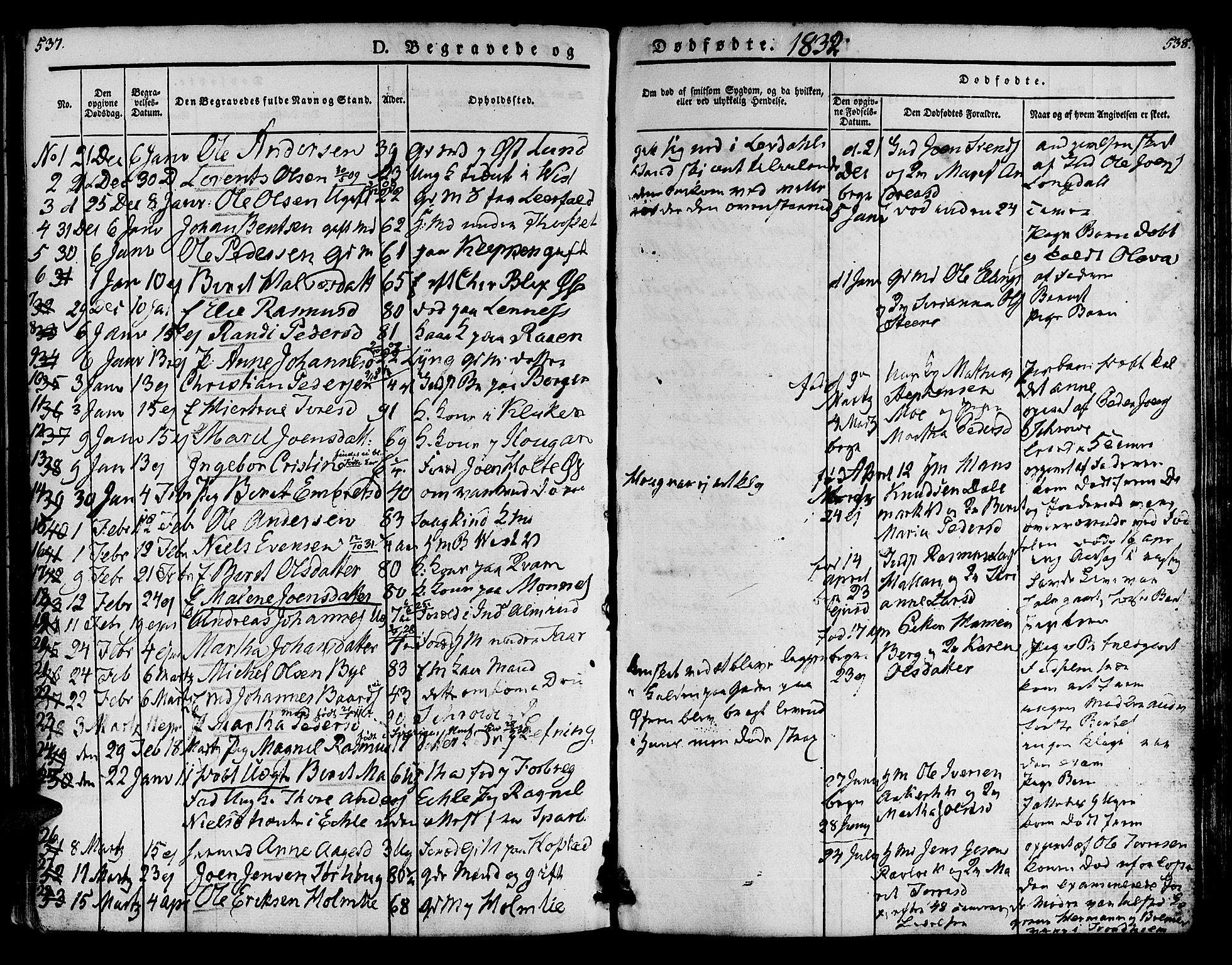 SAT, Ministerialprotokoller, klokkerbøker og fødselsregistre - Nord-Trøndelag, 723/L0238: Ministerialbok nr. 723A07, 1831-1840, s. 537-538