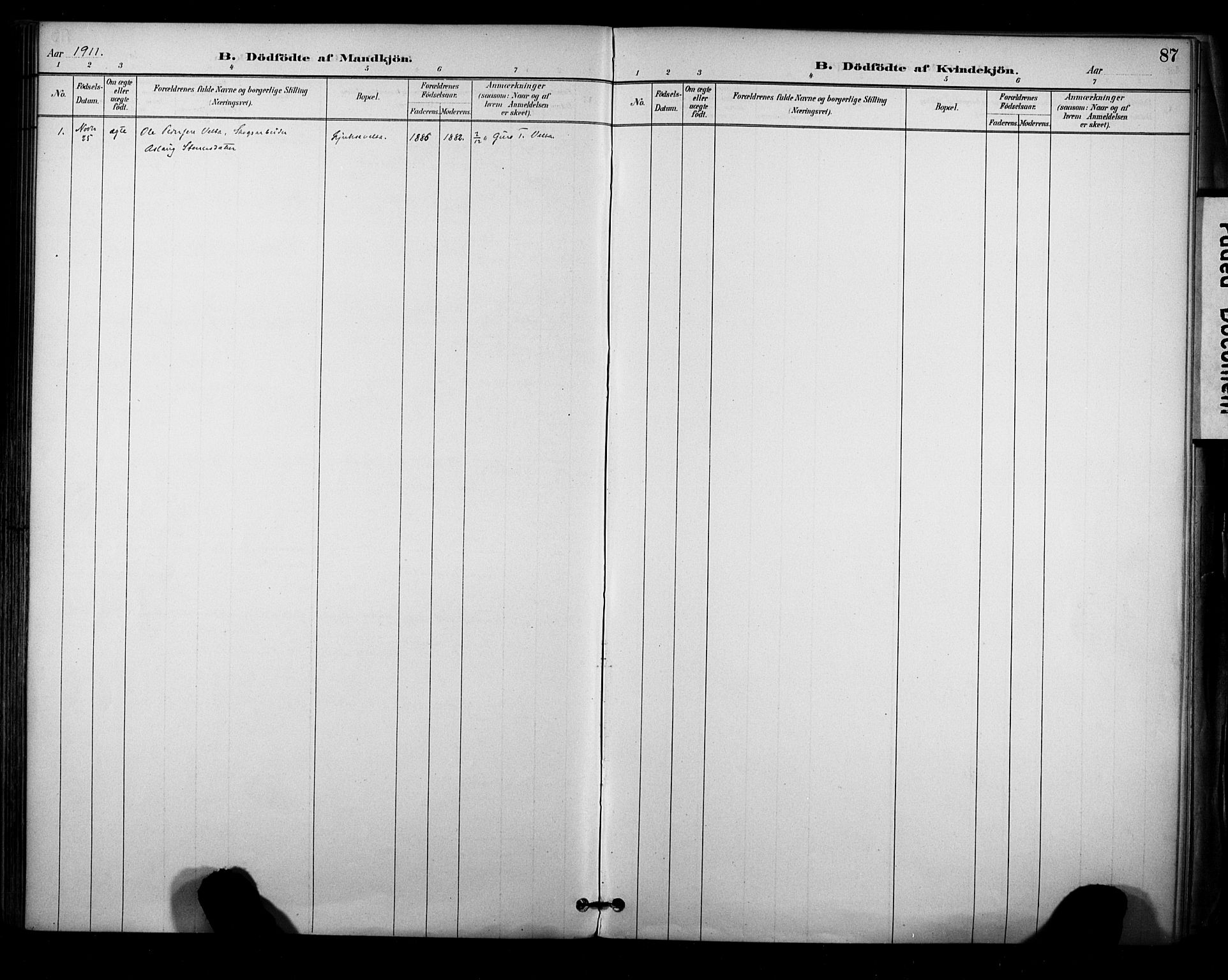 SAKO, Sauherad kirkebøker, F/Fa/L0009: Ministerialbok nr. I 9, 1887-1912, s. 87