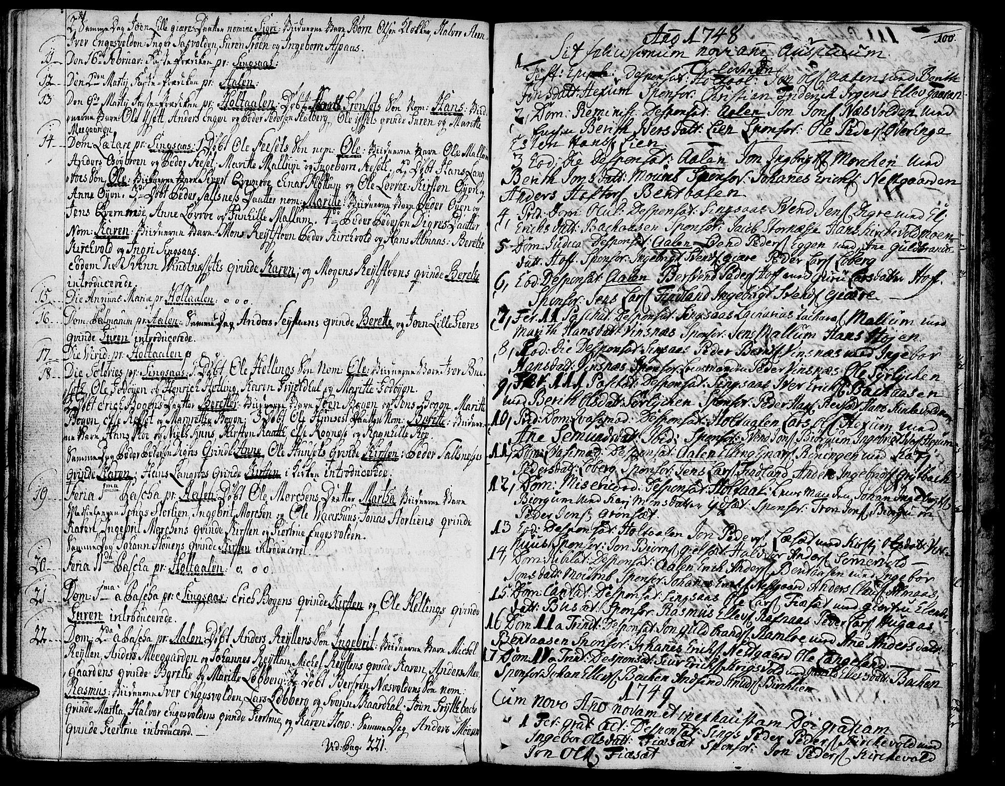 SAT, Ministerialprotokoller, klokkerbøker og fødselsregistre - Sør-Trøndelag, 685/L0952: Ministerialbok nr. 685A01, 1745-1804, s. 100