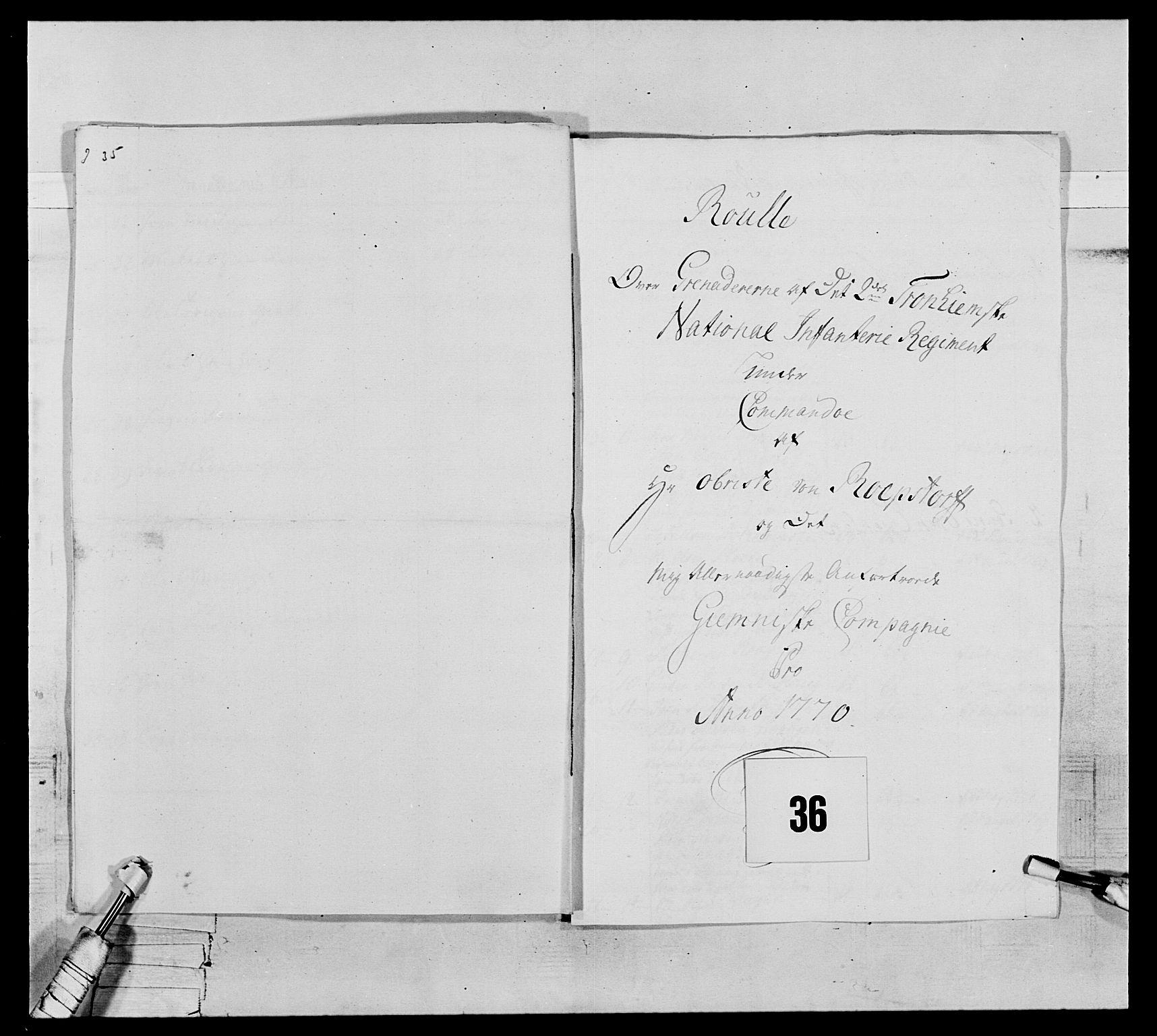 RA, Generalitets- og kommissariatskollegiet, Det kongelige norske kommissariatskollegium, E/Eh/L0076: 2. Trondheimske nasjonale infanteriregiment, 1766-1773, s. 109