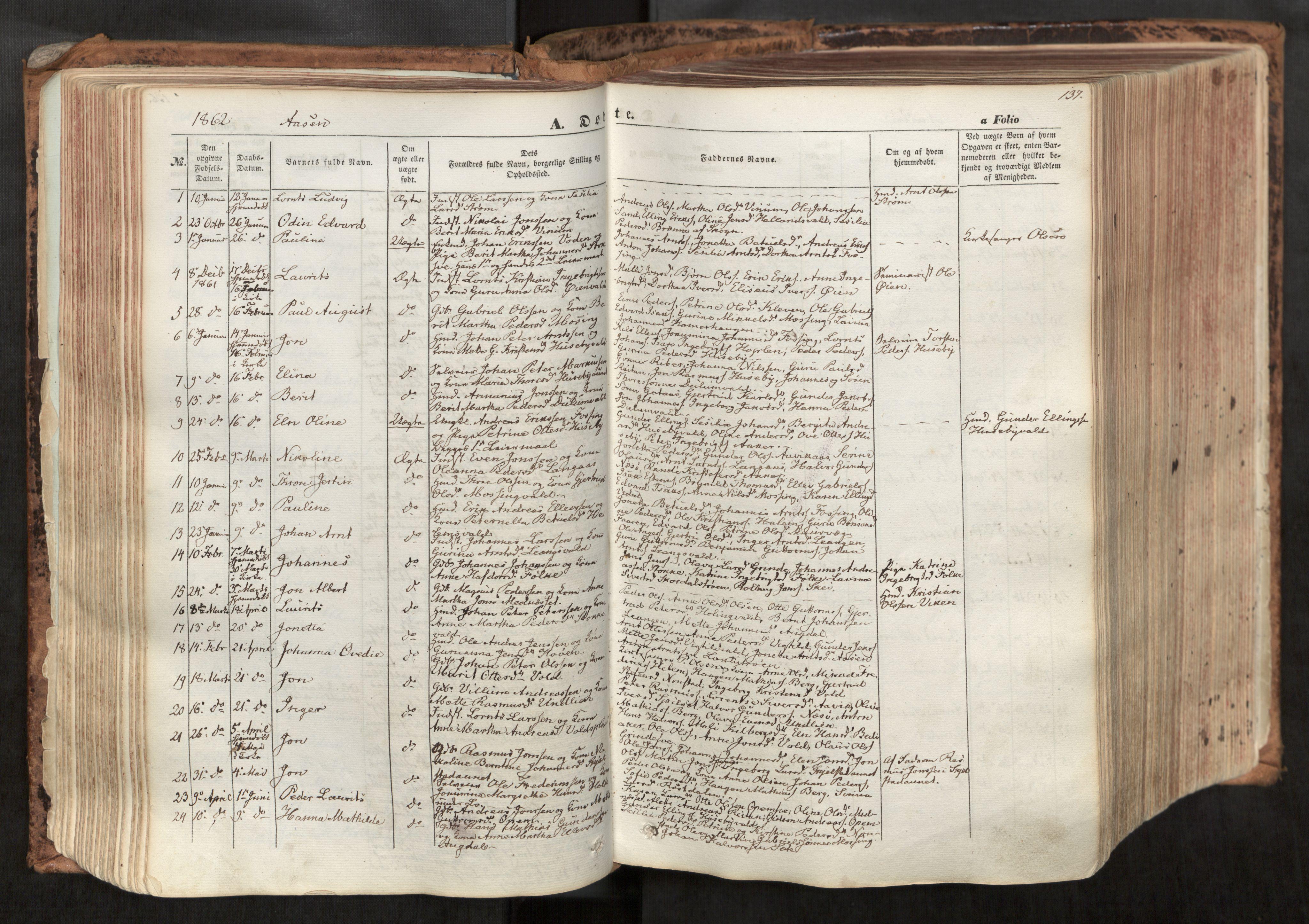 SAT, Ministerialprotokoller, klokkerbøker og fødselsregistre - Nord-Trøndelag, 713/L0116: Ministerialbok nr. 713A07, 1850-1877, s. 137