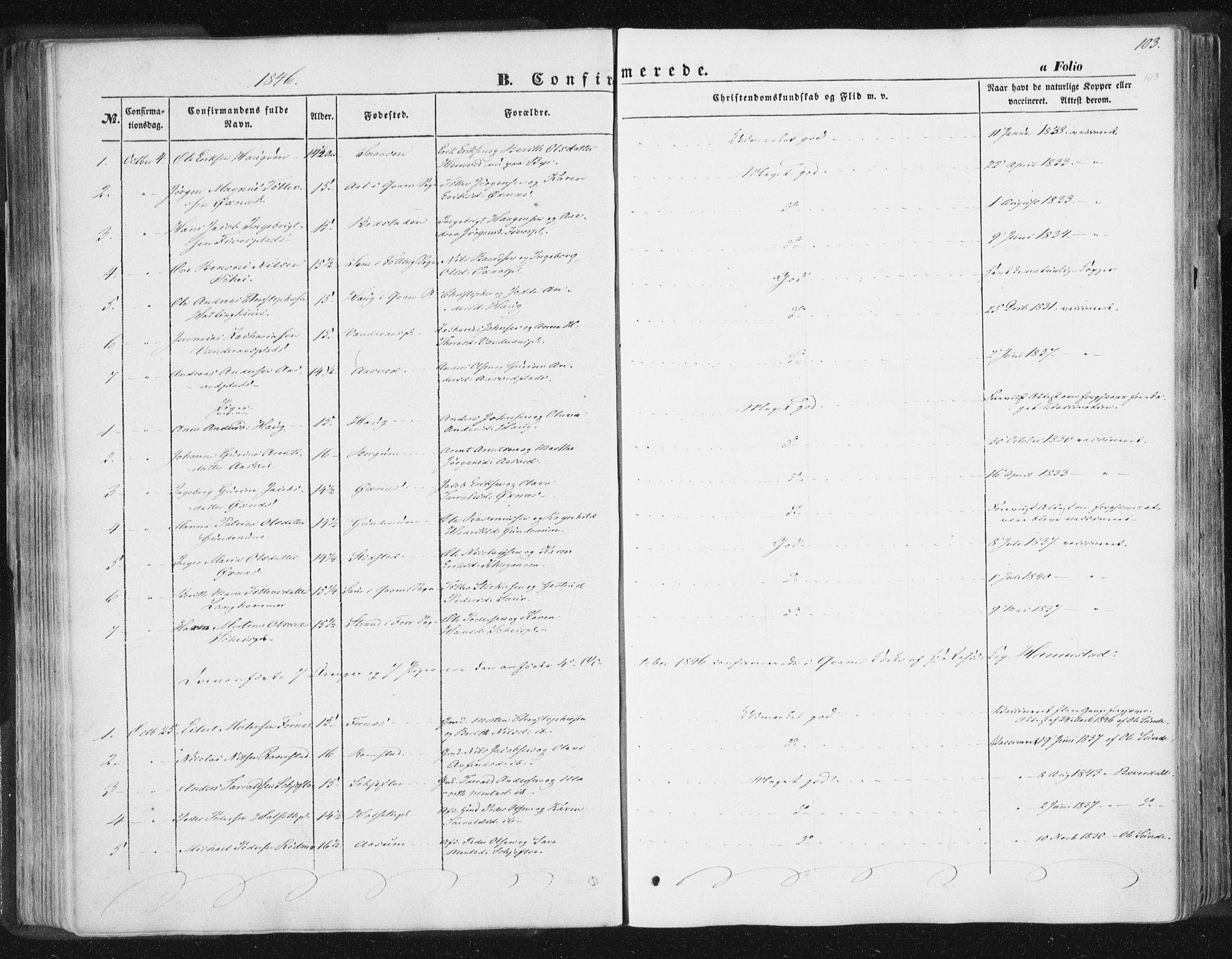 SAT, Ministerialprotokoller, klokkerbøker og fødselsregistre - Nord-Trøndelag, 746/L0446: Ministerialbok nr. 746A05, 1846-1859, s. 103