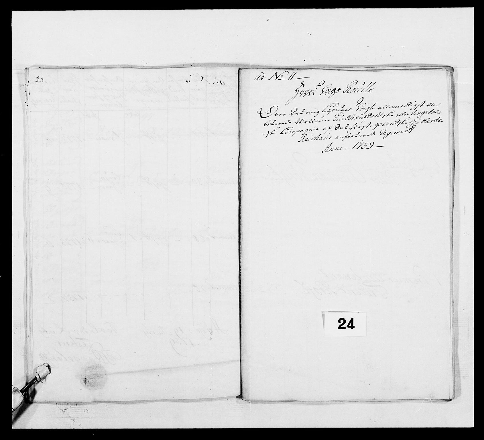 RA, Kommanderende general (KG I) med Det norske krigsdirektorium, E/Ea/L0502: 1. Opplandske regiment, 1720-1743, s. 249