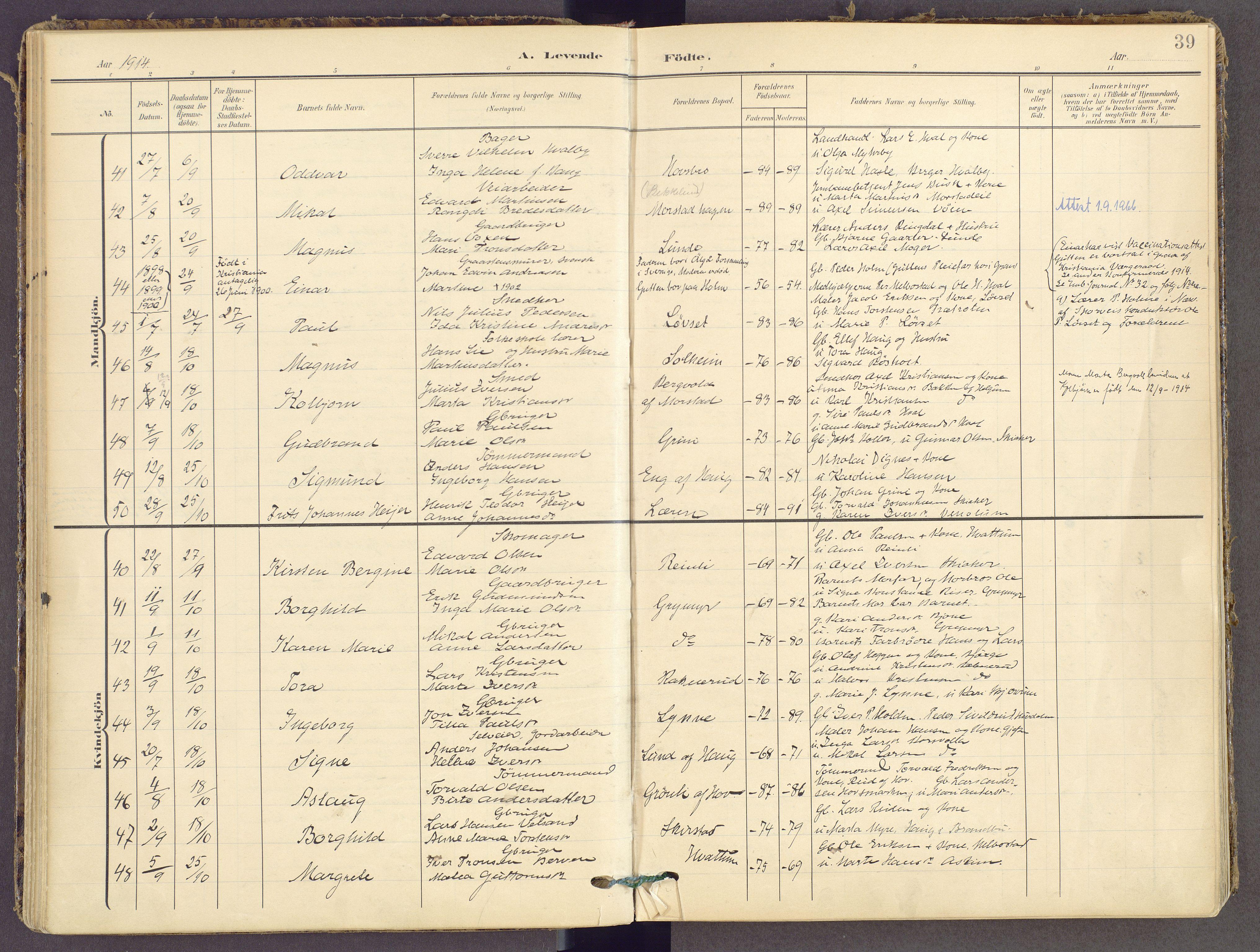 SAH, Gran prestekontor, Ministerialbok nr. 21, 1908-1932, s. 39