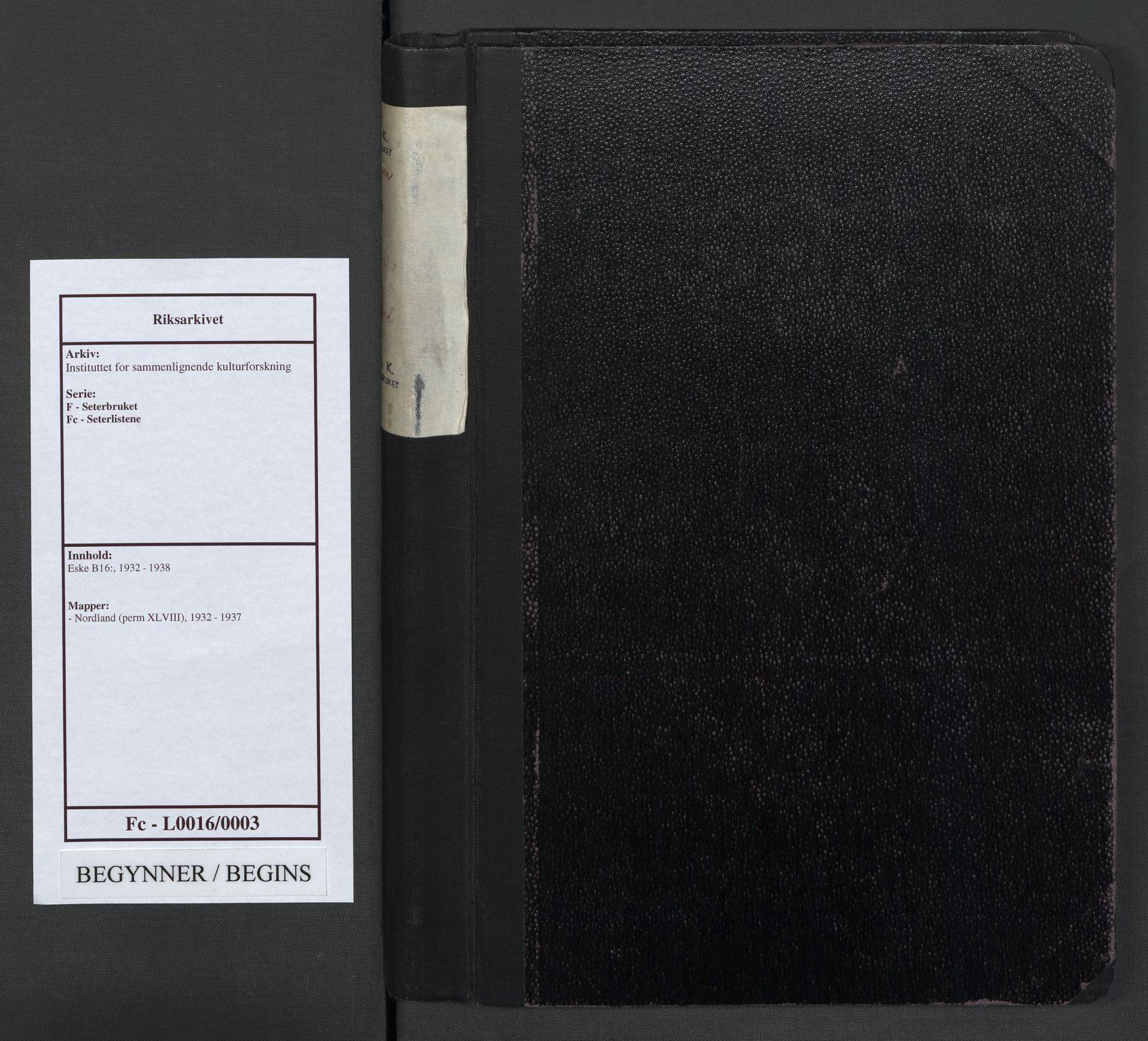 RA, Instituttet for sammenlignende kulturforskning, F/Fc/L0016: Eske B16:, 1932-1937, s. upaginert