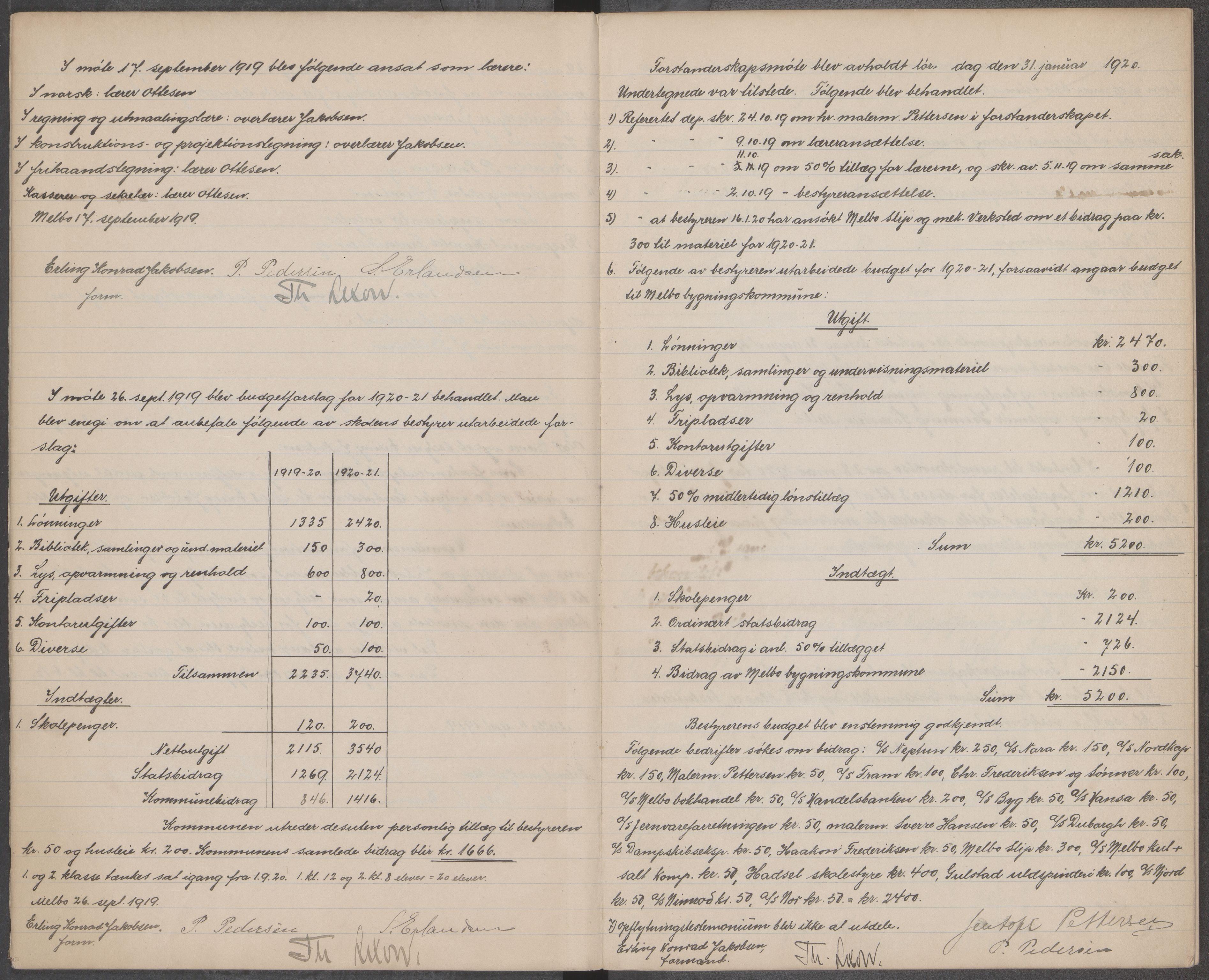 AIN, Hadsel kommune. Melbu tekniske aftenskole, A/L0001: Forhandlingsprotokoll for forstanderskapet ved Melbu tekniske aftenskole, 1919-1923