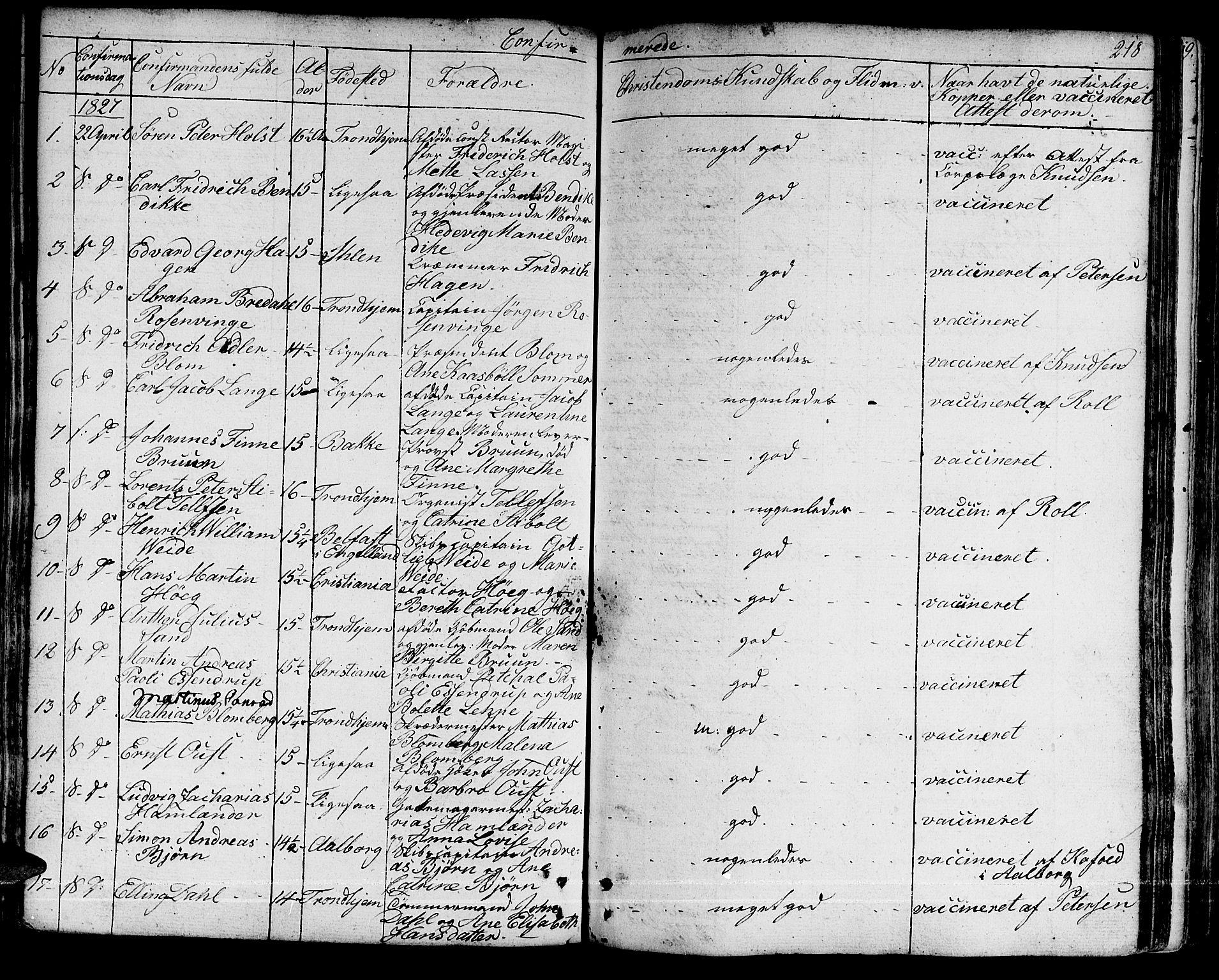 SAT, Ministerialprotokoller, klokkerbøker og fødselsregistre - Sør-Trøndelag, 601/L0045: Ministerialbok nr. 601A13, 1821-1831, s. 218