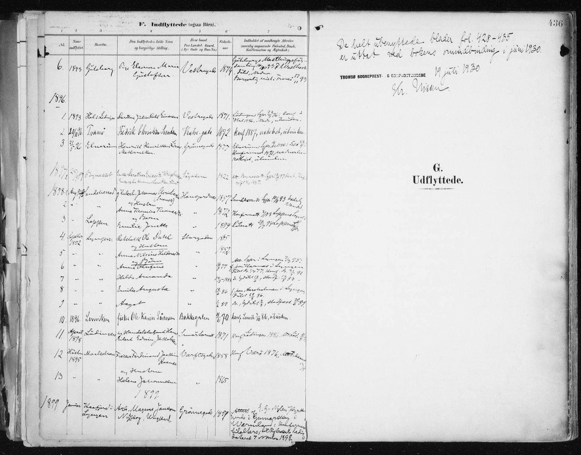 SATØ, Tromsø sokneprestkontor/stiftsprosti/domprosti, G/Ga/L0015kirke: Ministerialbok nr. 15, 1889-1899, s. 436