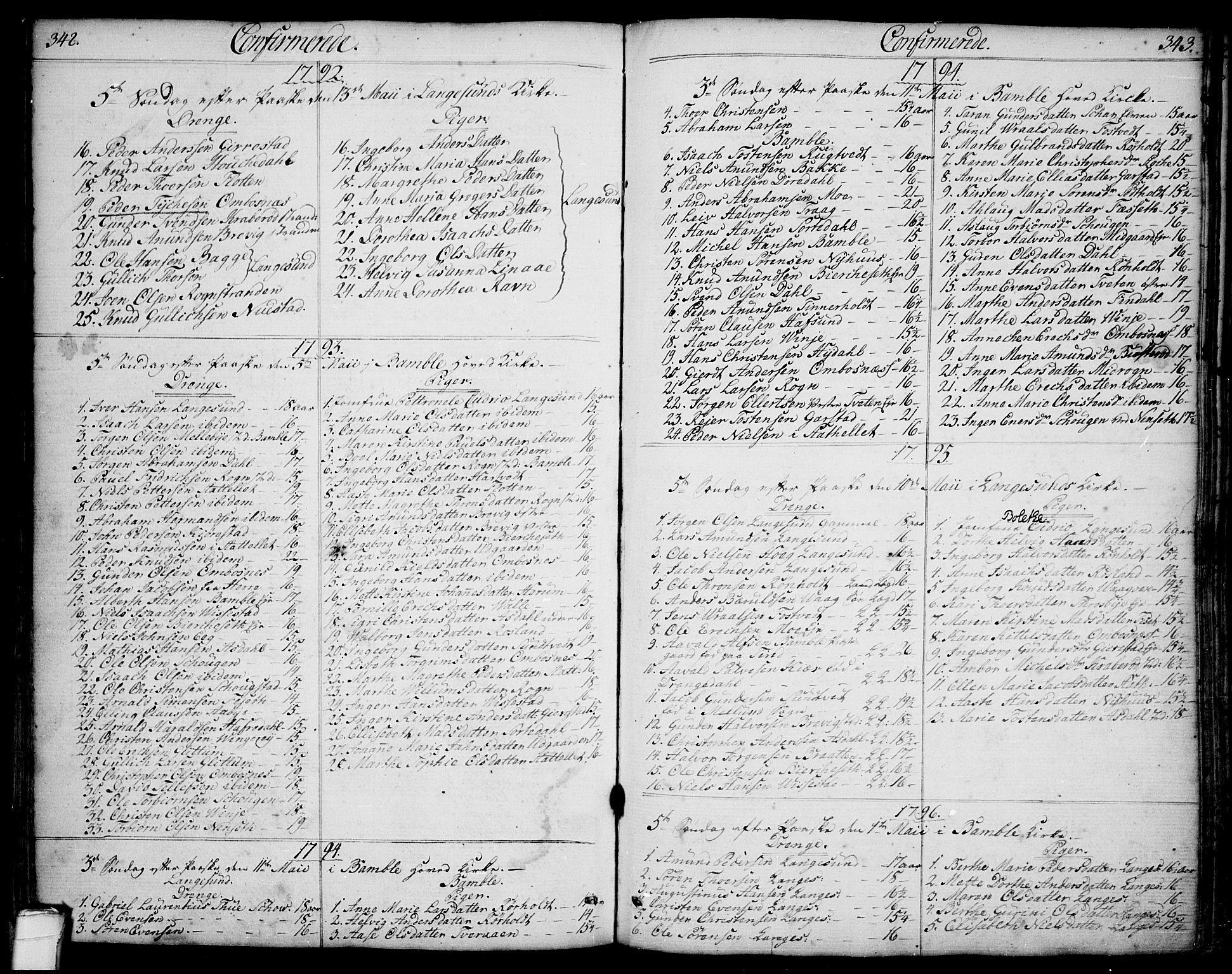 SAKO, Bamble kirkebøker, F/Fa/L0002: Ministerialbok nr. I 2, 1775-1814, s. 342-343