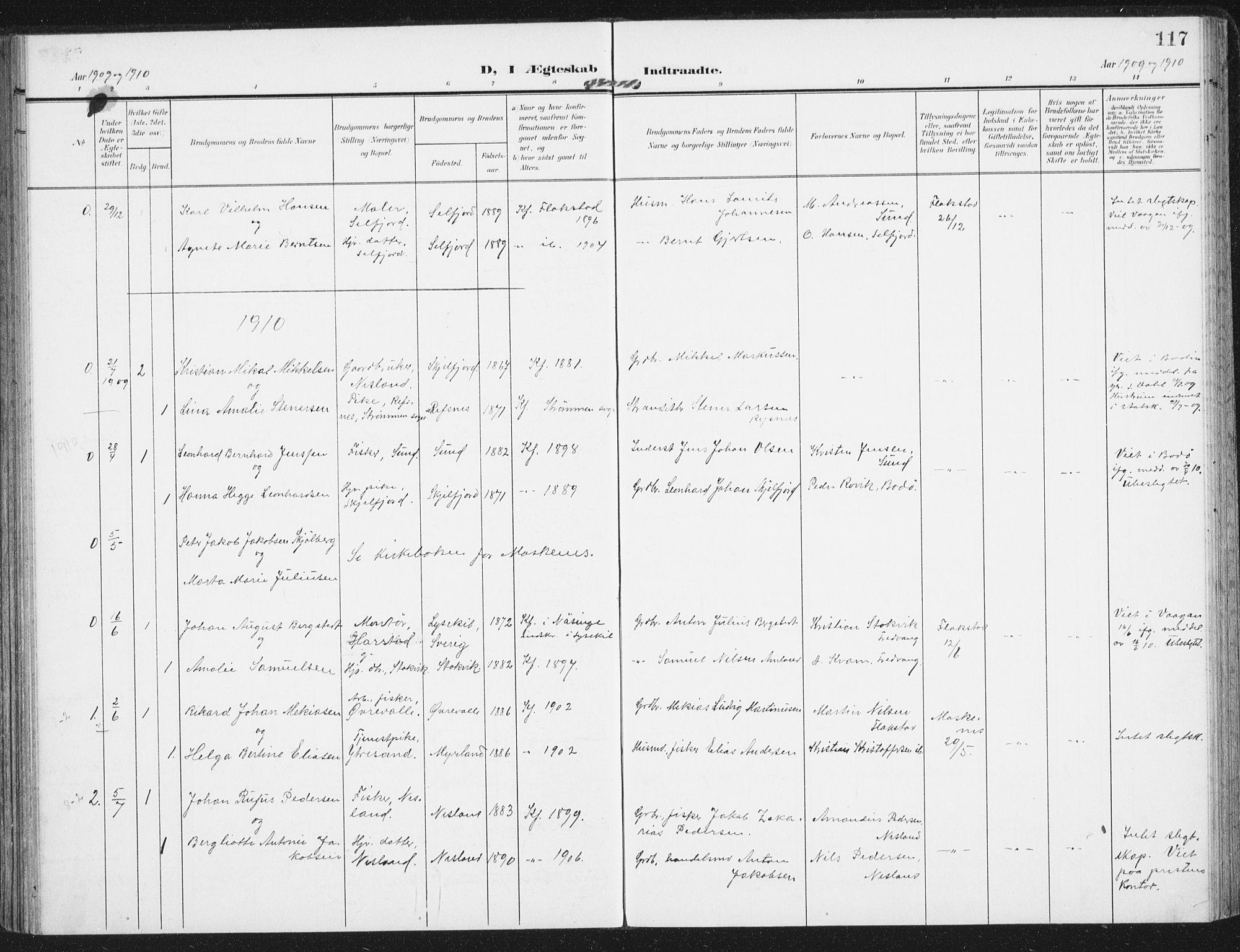 SAT, Ministerialprotokoller, klokkerbøker og fødselsregistre - Nordland, 885/L1206: Ministerialbok nr. 885A07, 1905-1915, s. 117